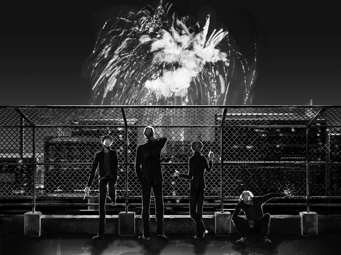 glasses fireworks monochrome male durarara