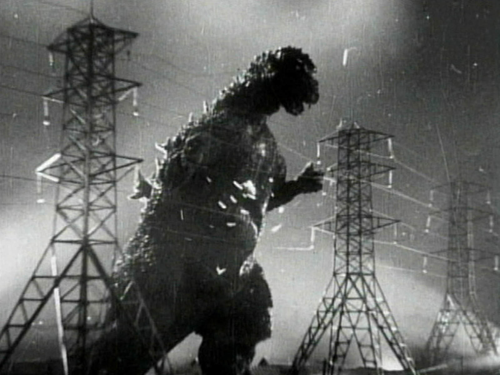 Godzilla power lines monochrome HD Wallpaper