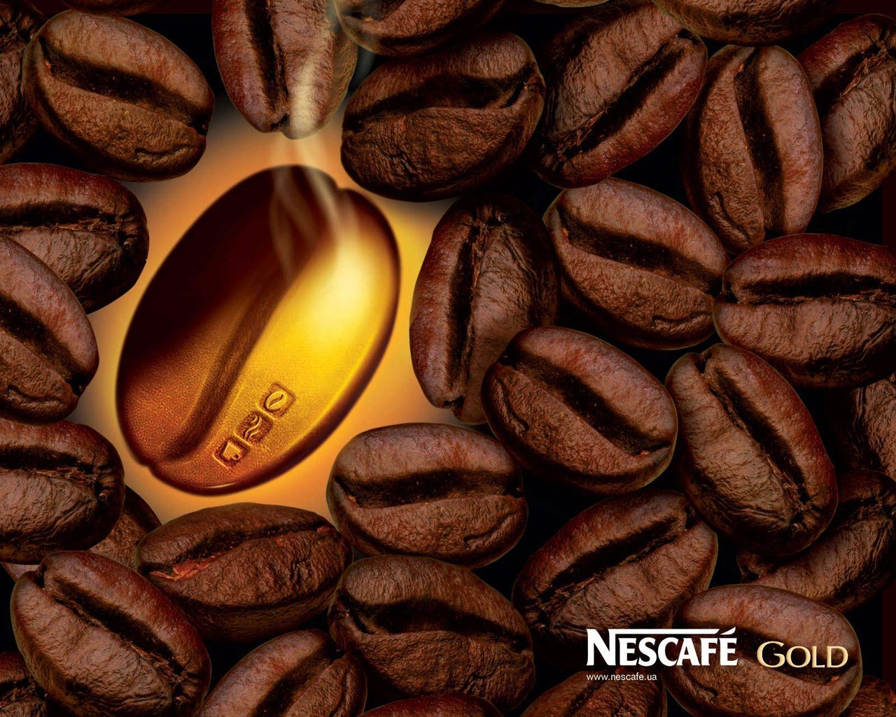 gold Coffee Beans HD Wallpaper