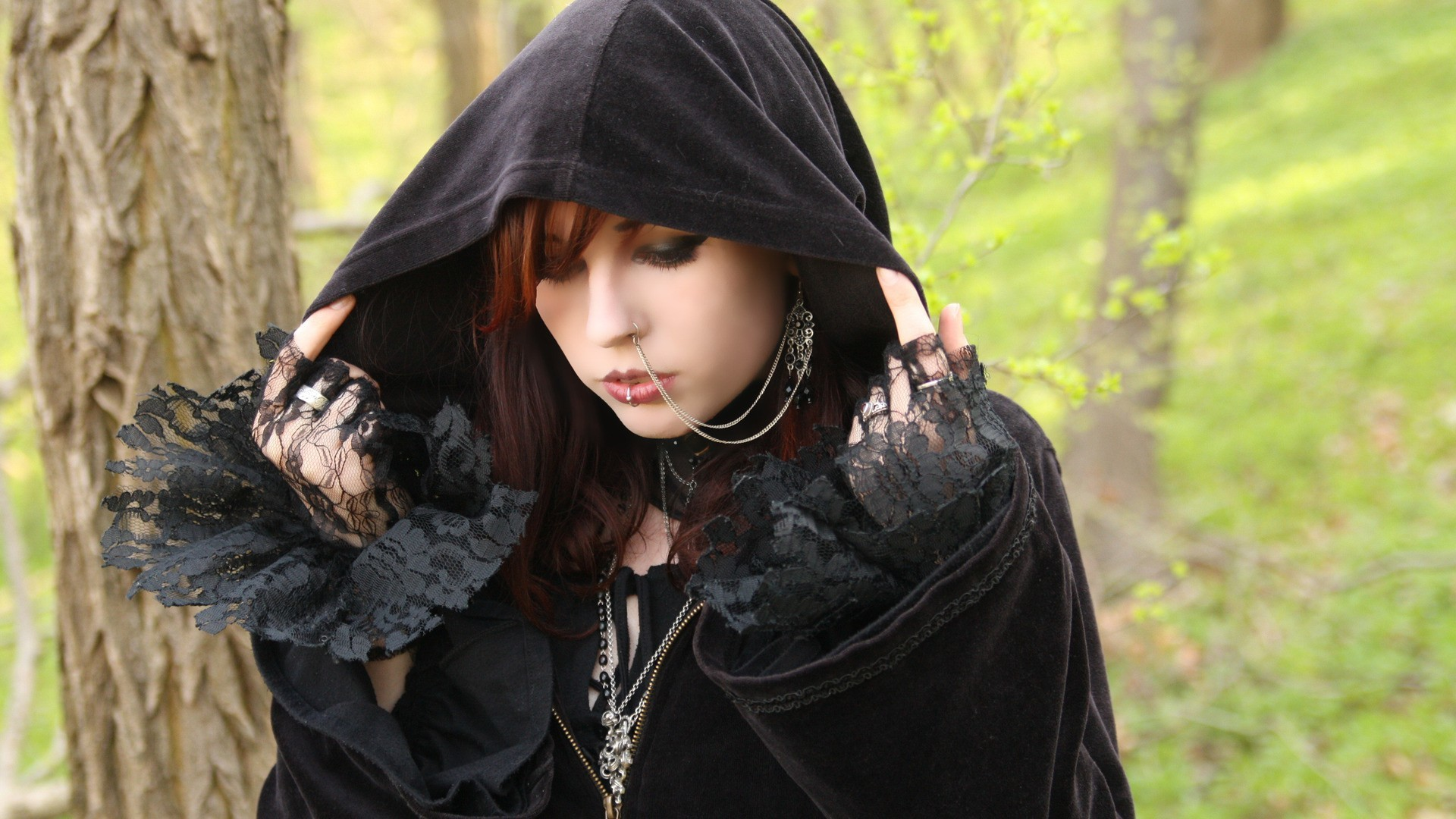 Gothic woman piercings forests hooded HD Wallpaper