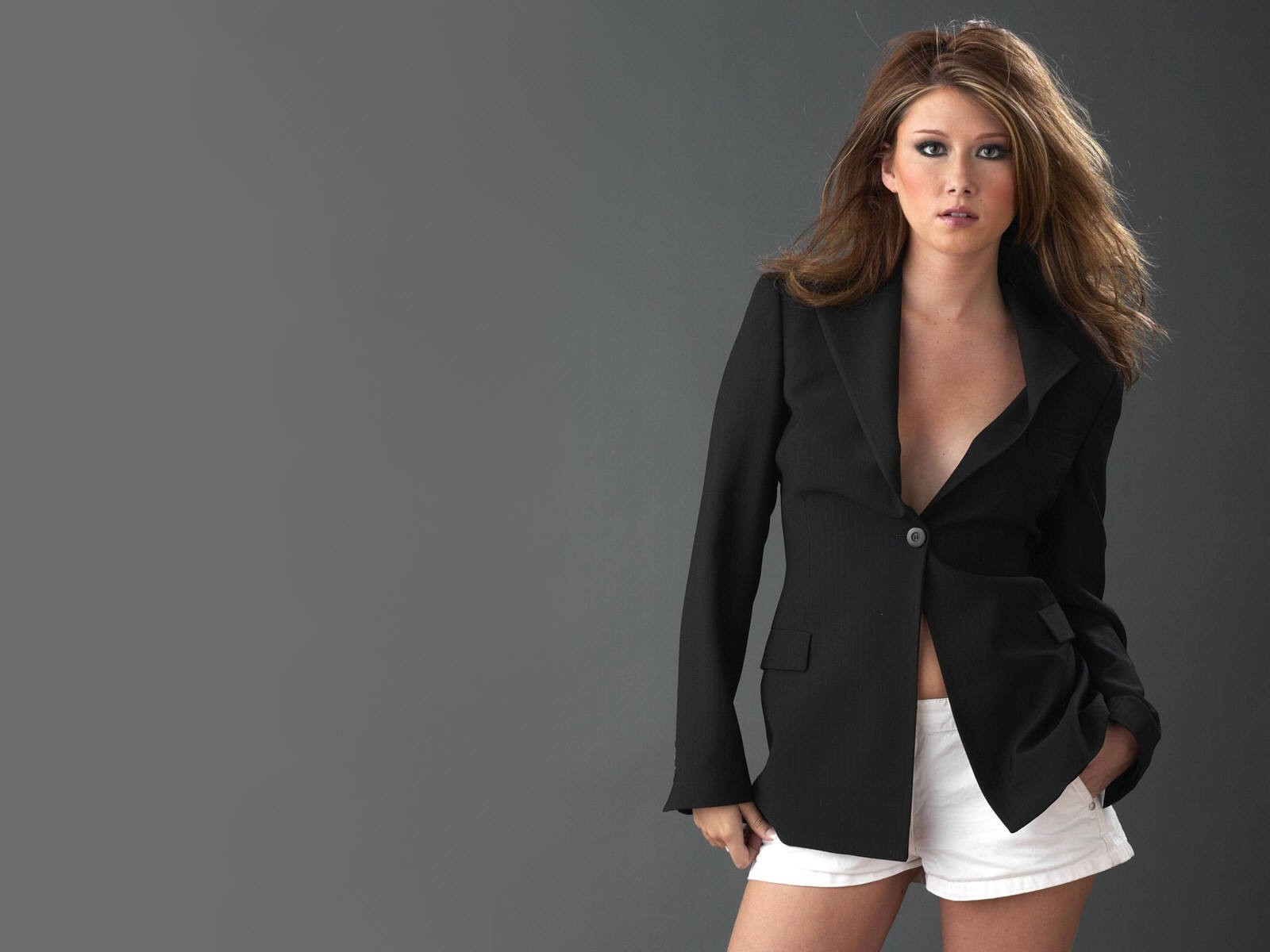 gray background brunettes woman HD Wallpaper