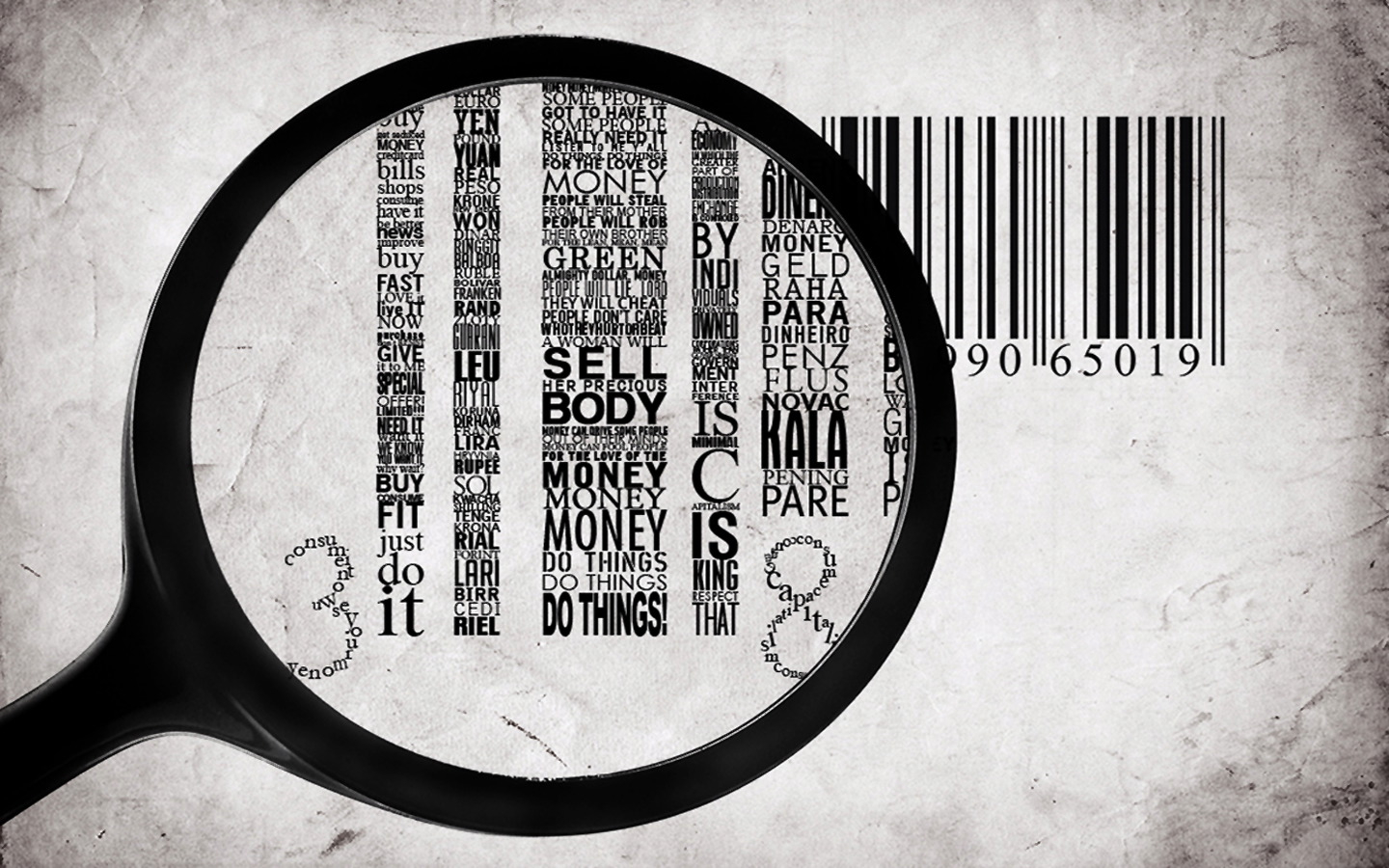 grayscale barcode facts magnifying HD Wallpaper