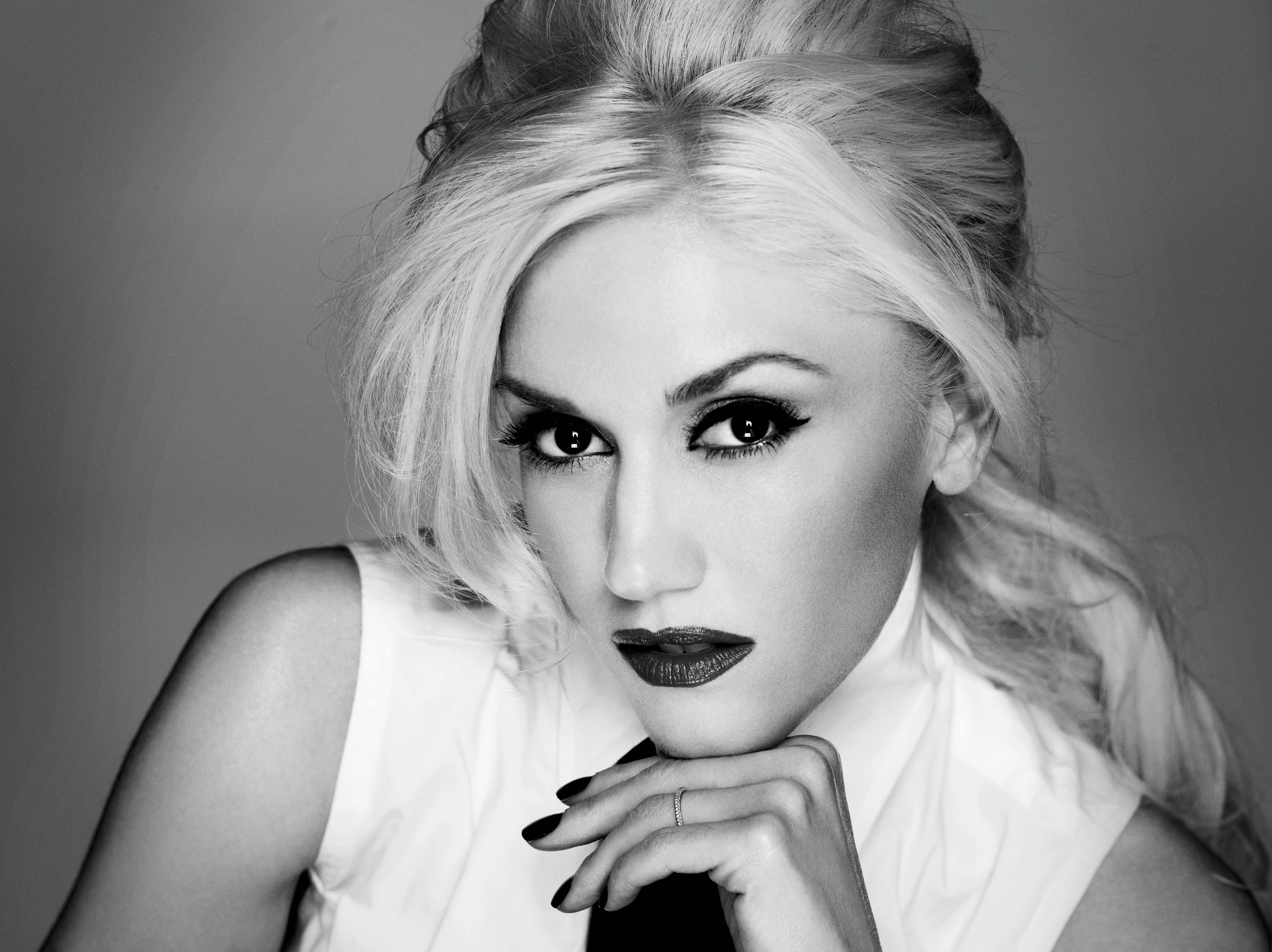 grayscale gwen stefani monochrome HD Wallpaper