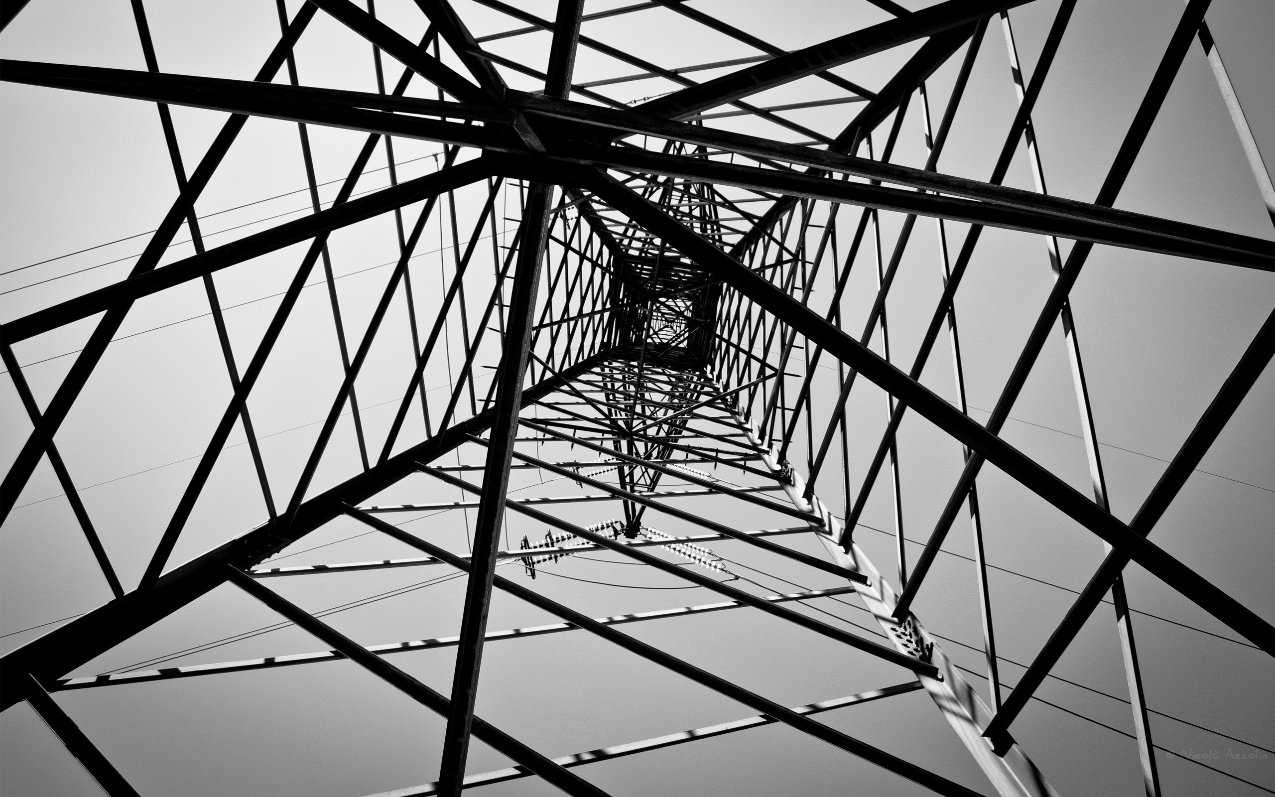 grayscale lines electricity pole HD Wallpaper