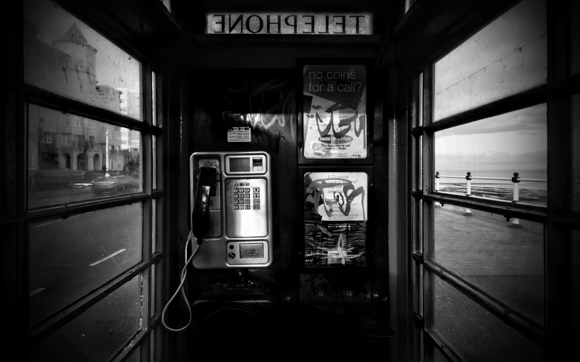 grayscale phone booth HD Wallpaper