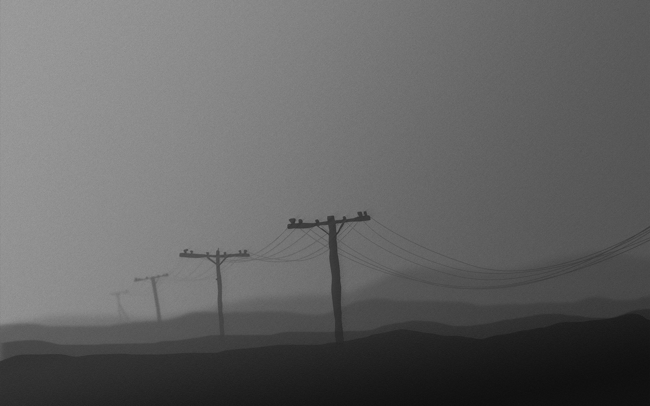 grayscale power lines Landscapes