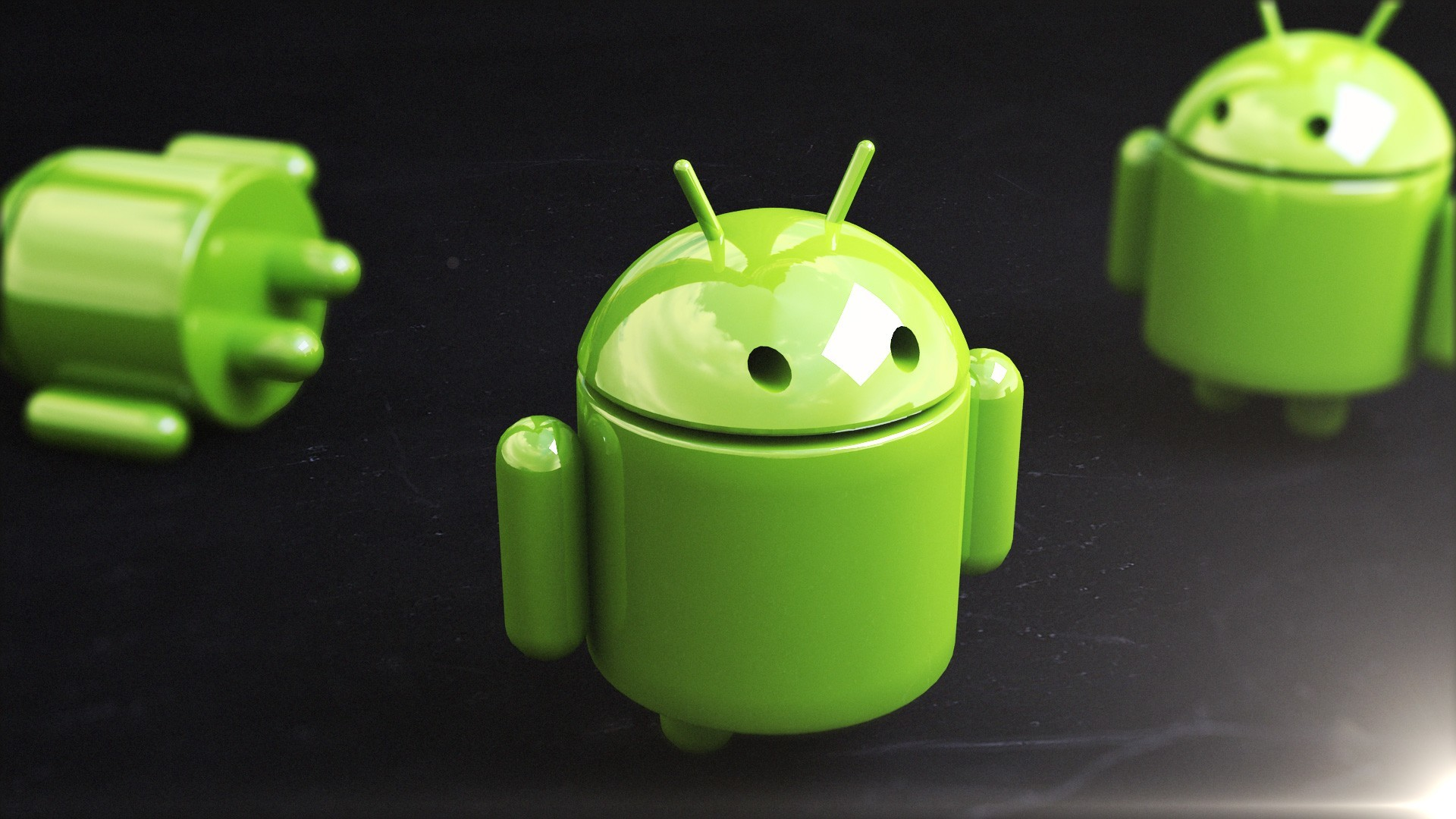 Green android 3D renders HD Wallpaper