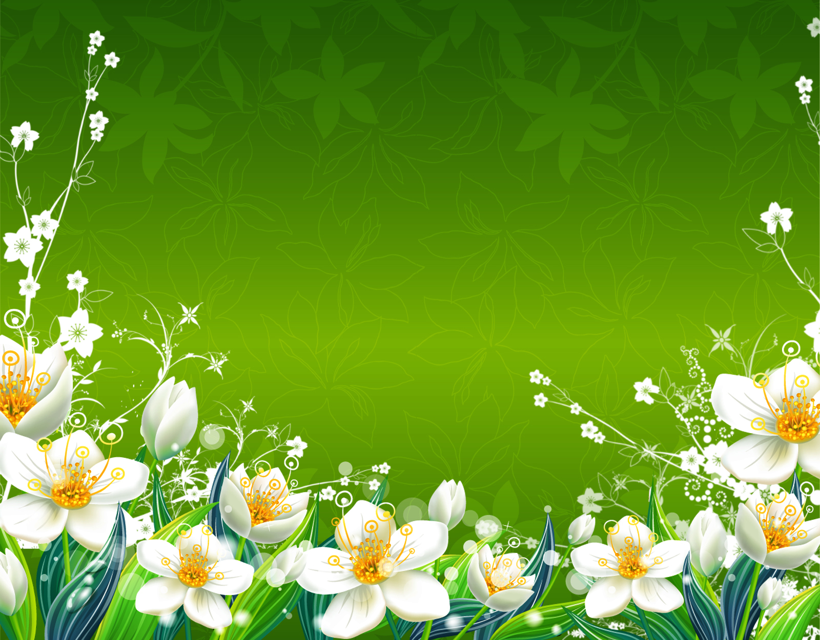 Green Flowers spring floral HD Wallpaper