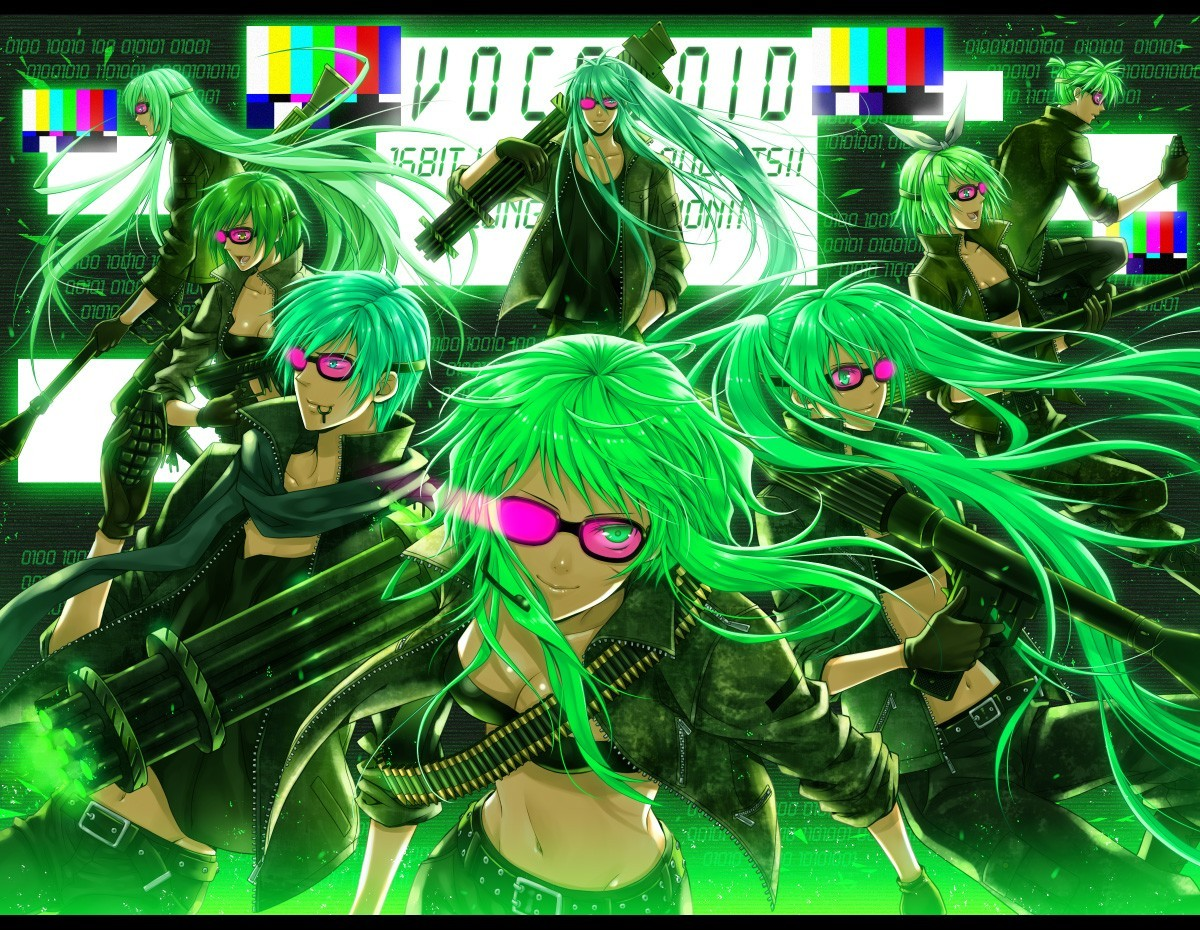 Green Guns vocaloid hatsune HD Wallpaper