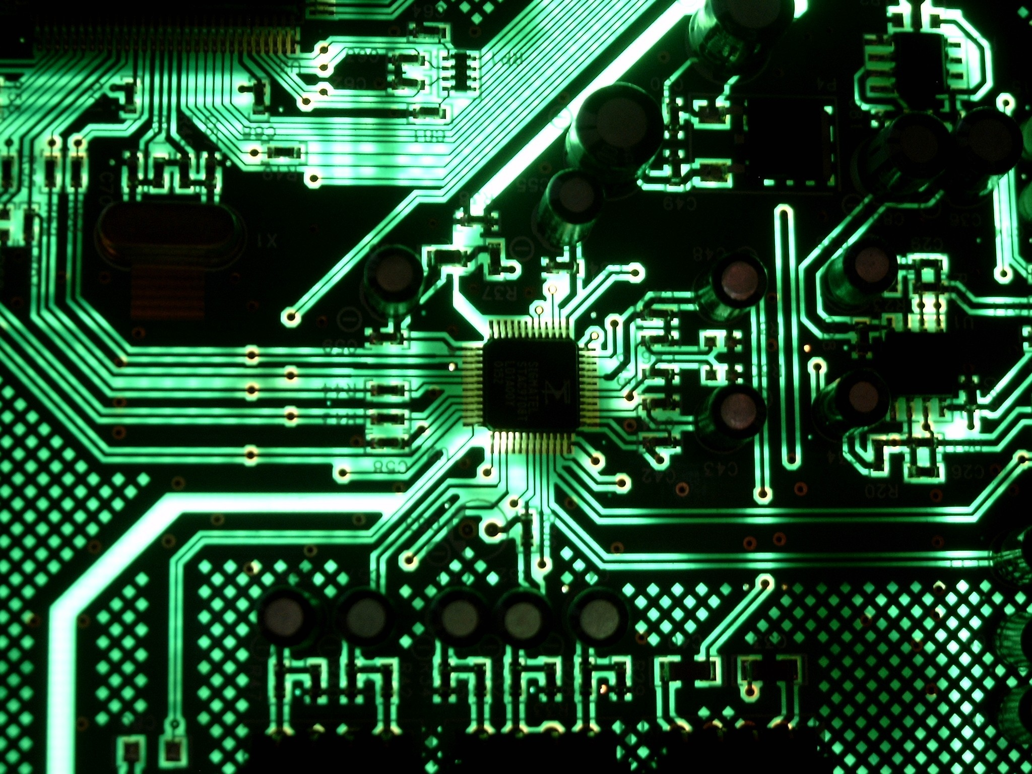 Green lights Technology motherboards HD Wallpaper