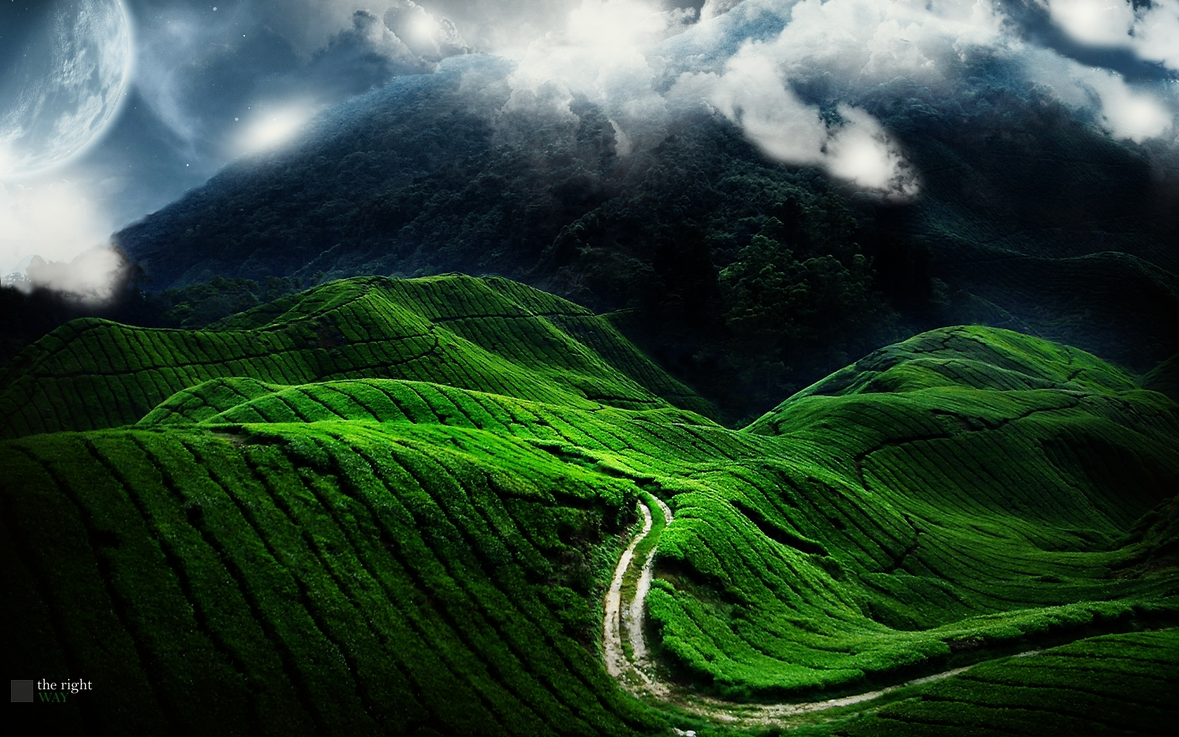 Green Mountains clouds Landscapes HD Wallpaper