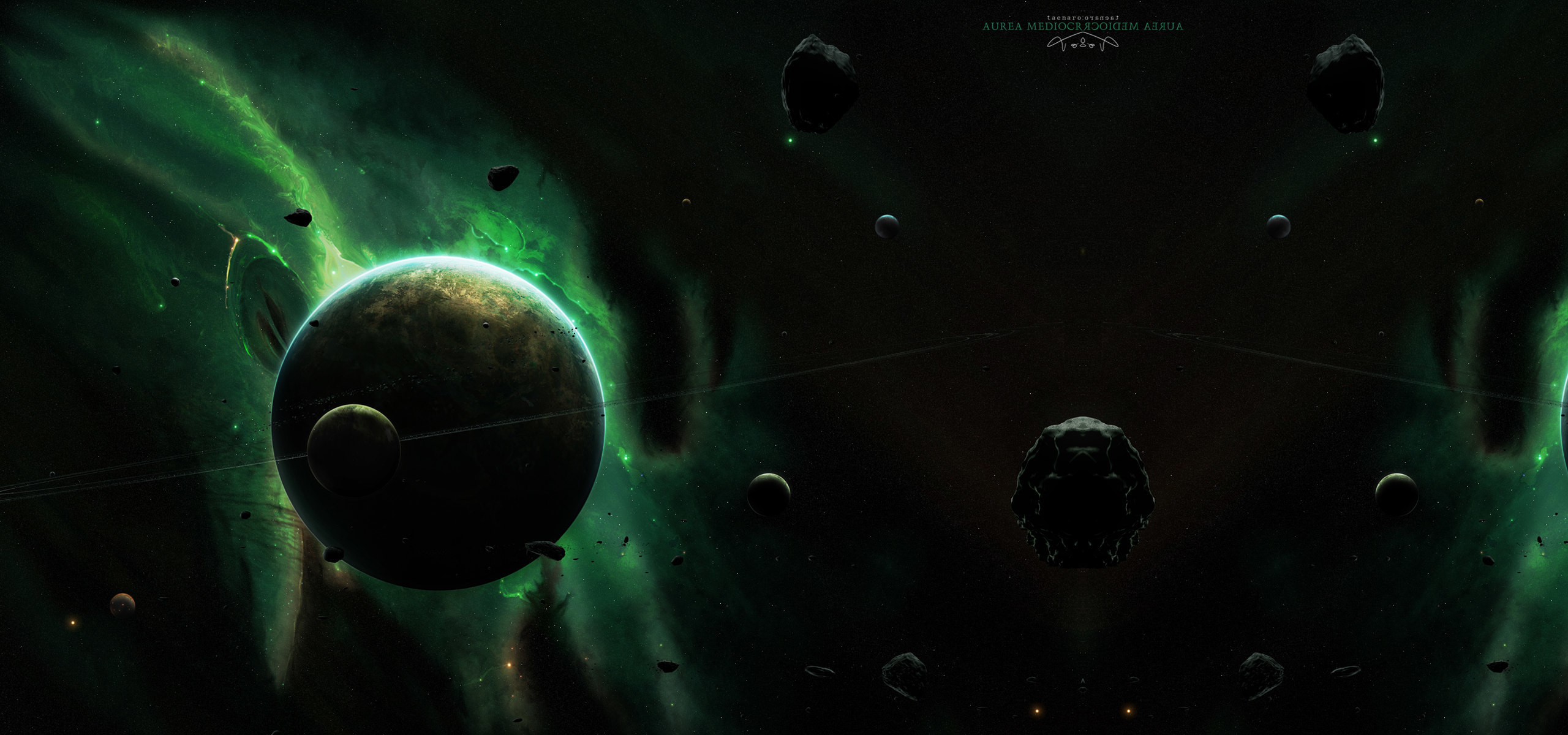 Green outer space planets