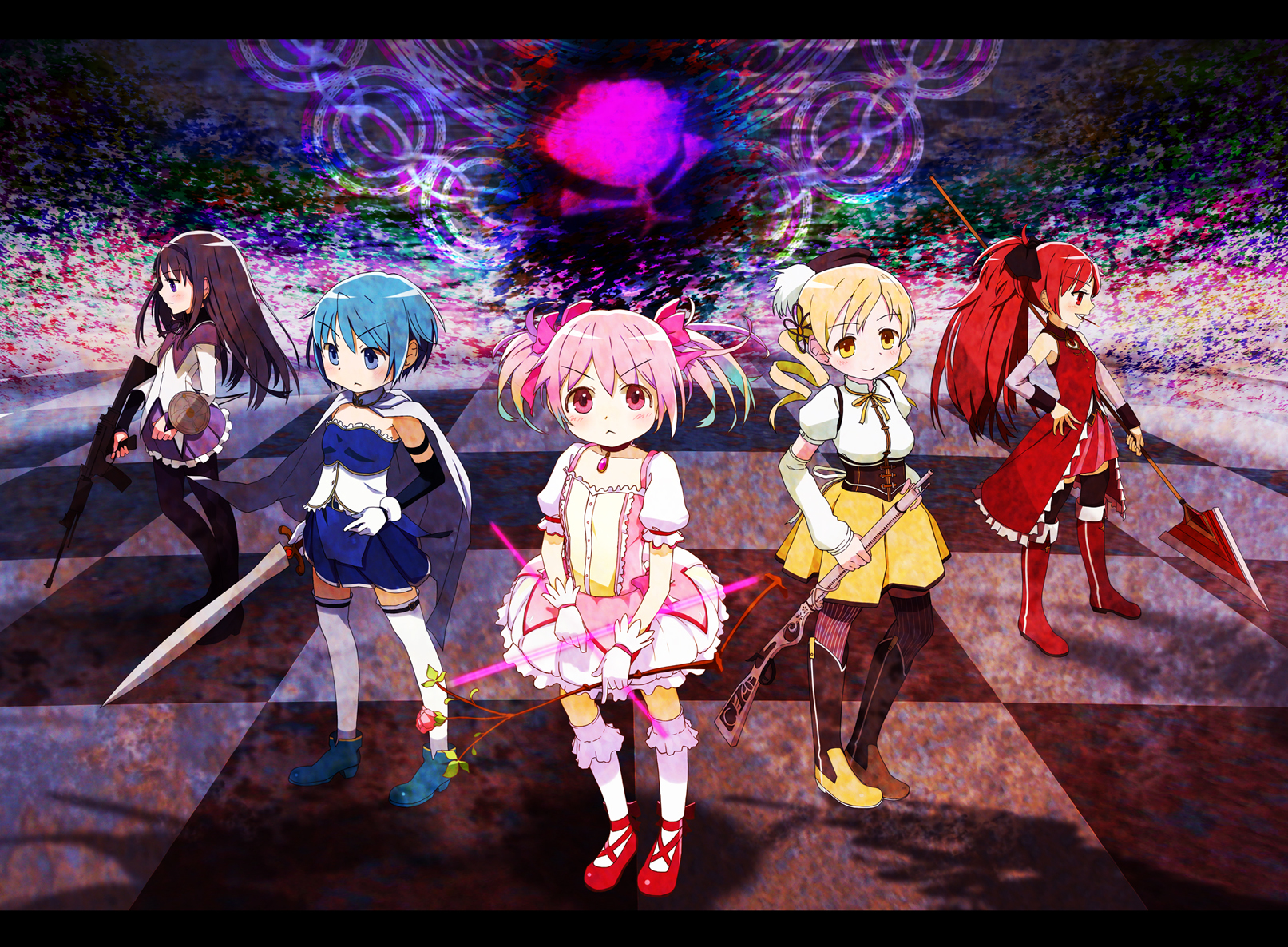 groups weapons mahou shoujo HD Wallpaper