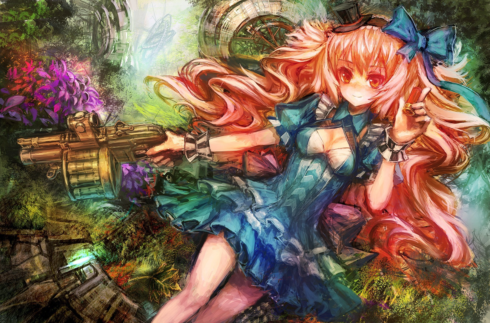 Guns dress multicolor Flowers HD Wallpaper