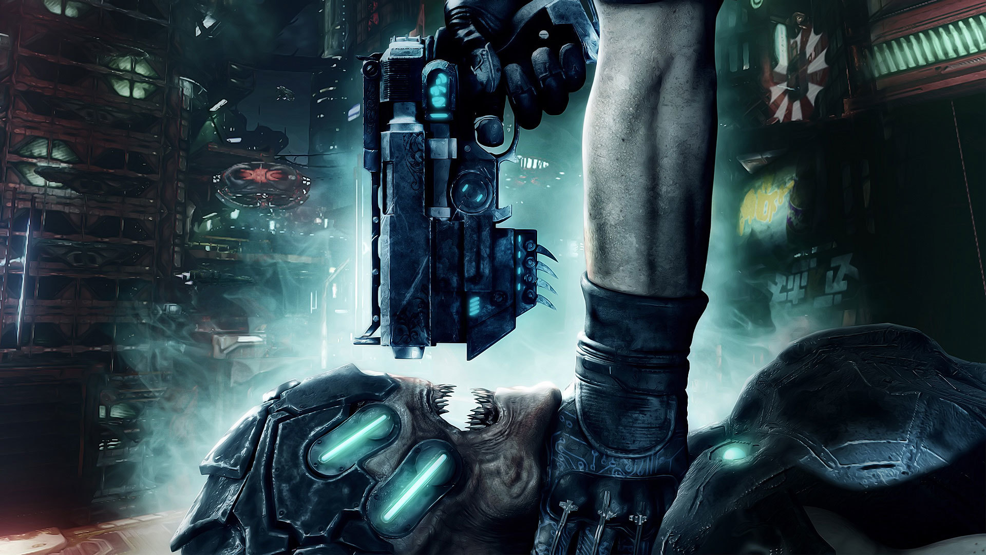 Guns futuristic hands weapons HD Wallpaper