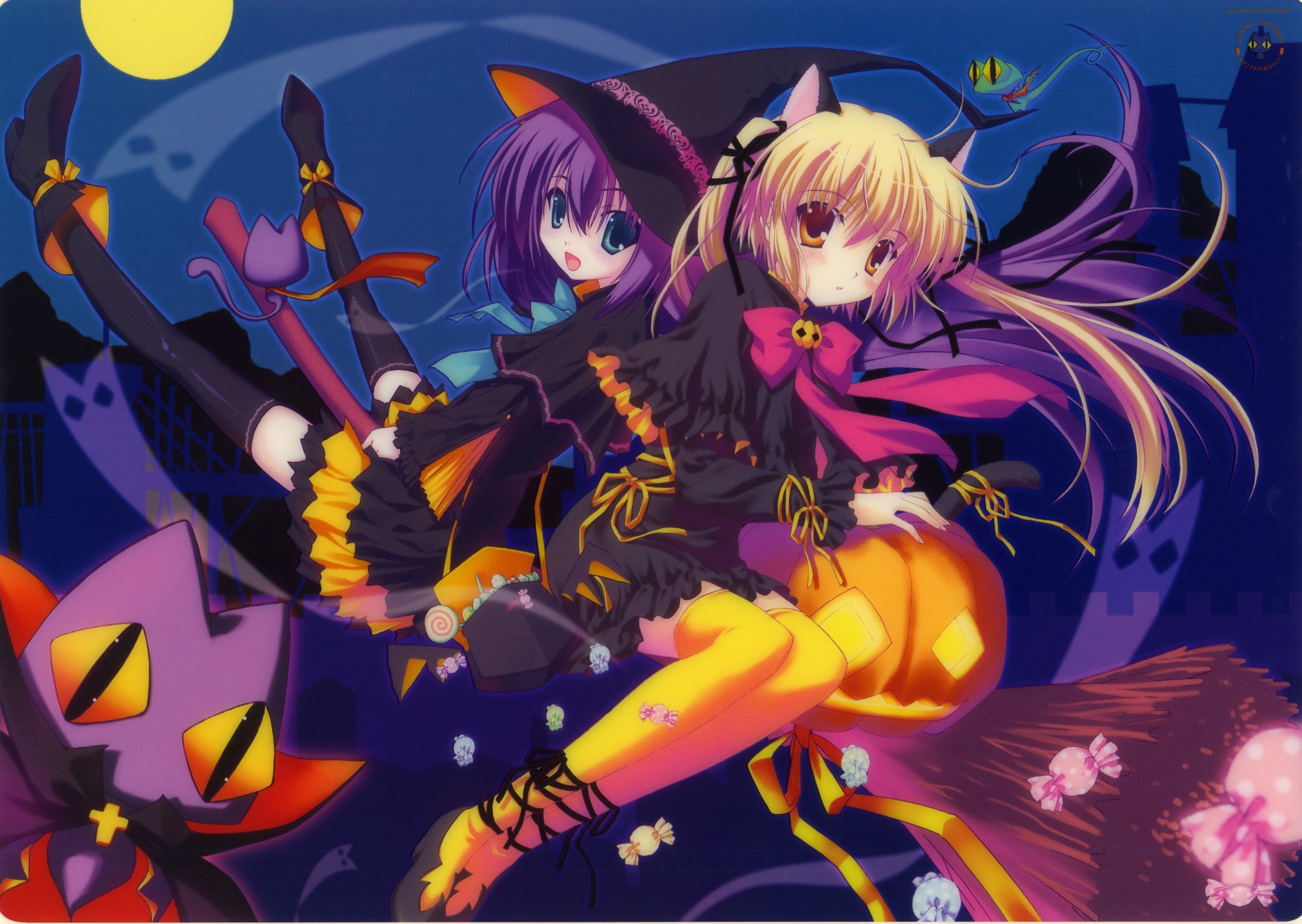 Halloween anime girls nekomimi artwork HD Wallpaper