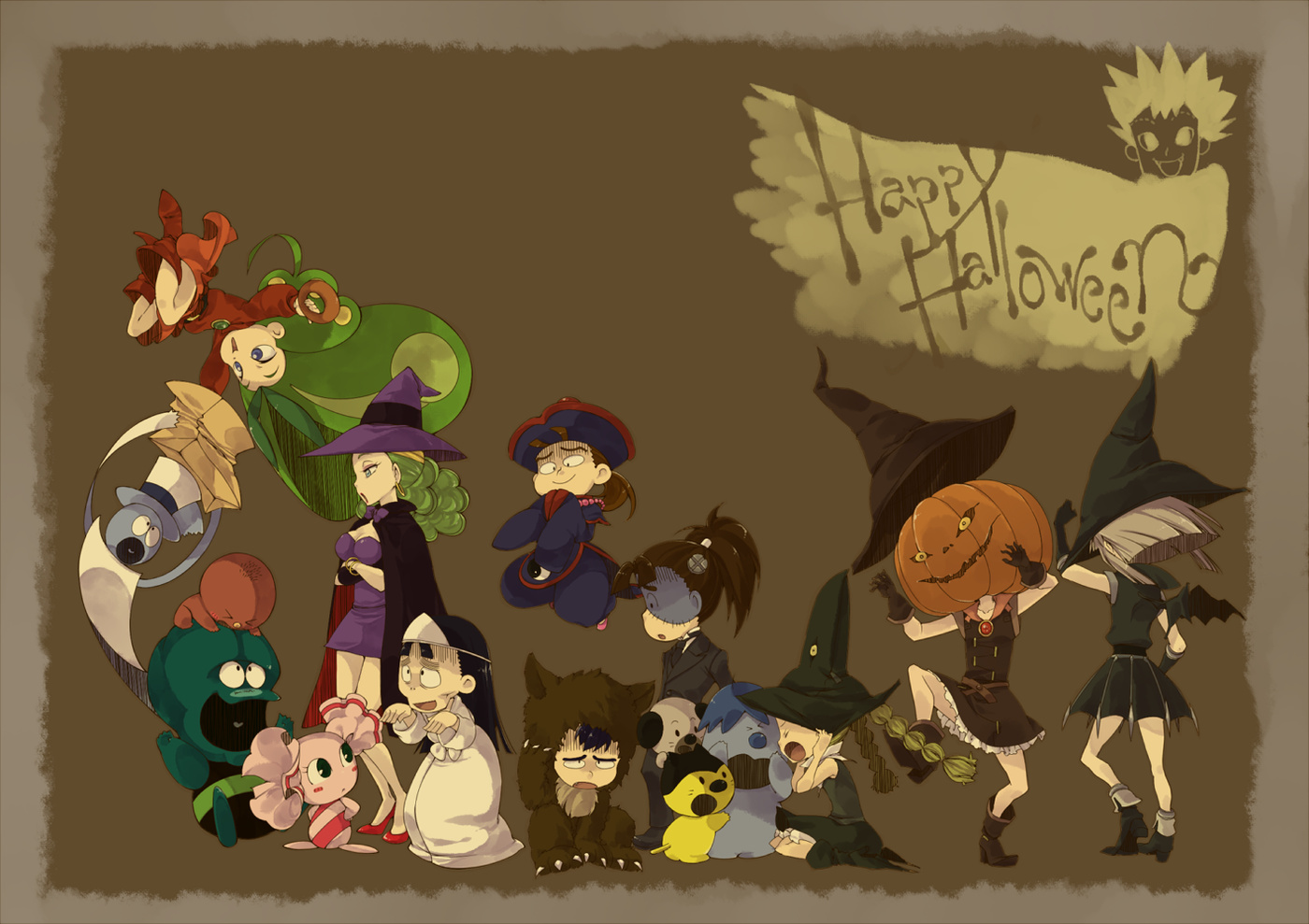 Halloween Anime momsters witch HD Wallpaper
