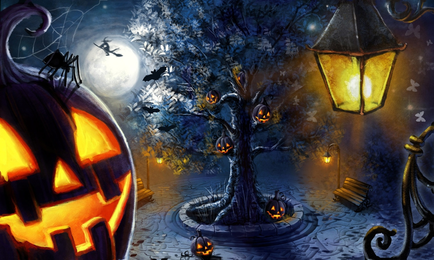 Halloween artwork pumpkins HD Wallpaper