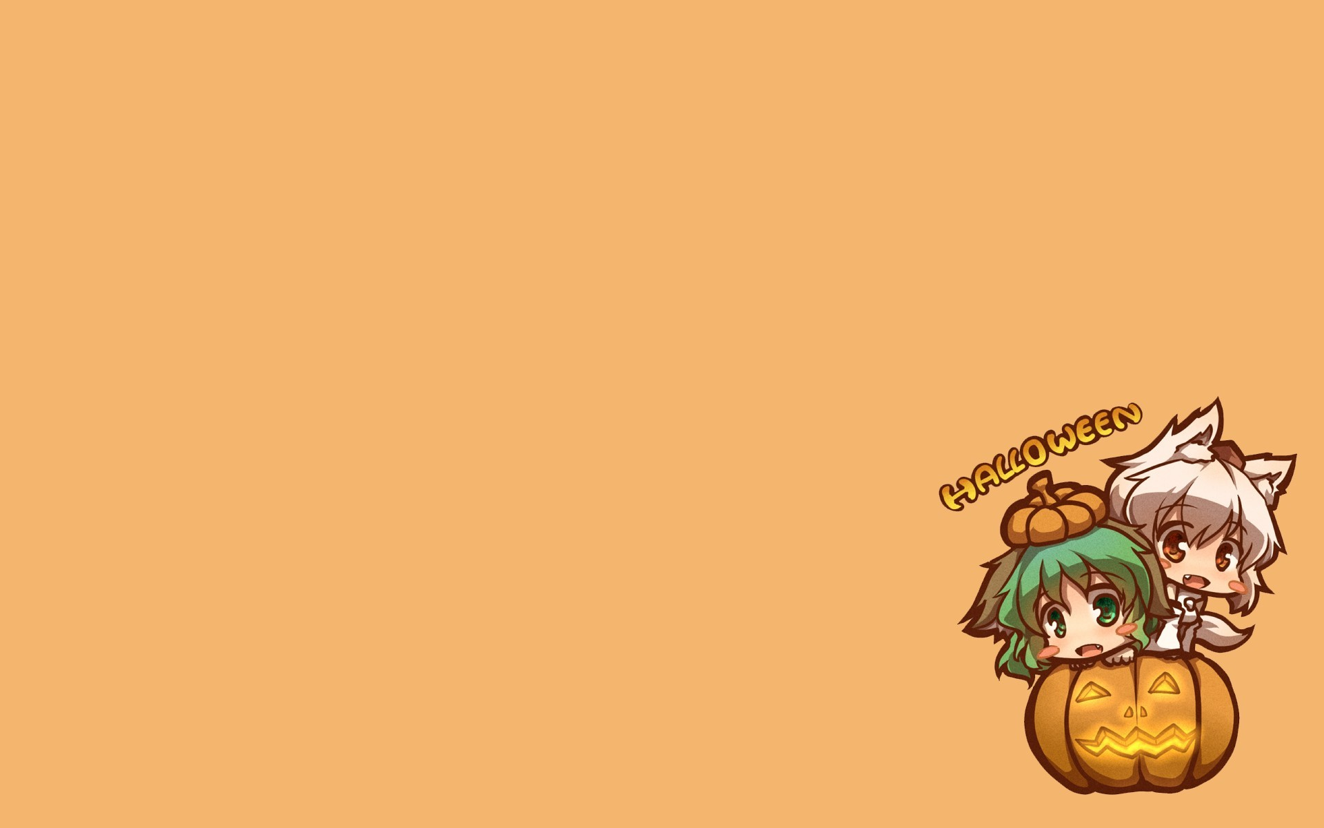 Halloween Chibi red eyes green eyes HD Wallpaper