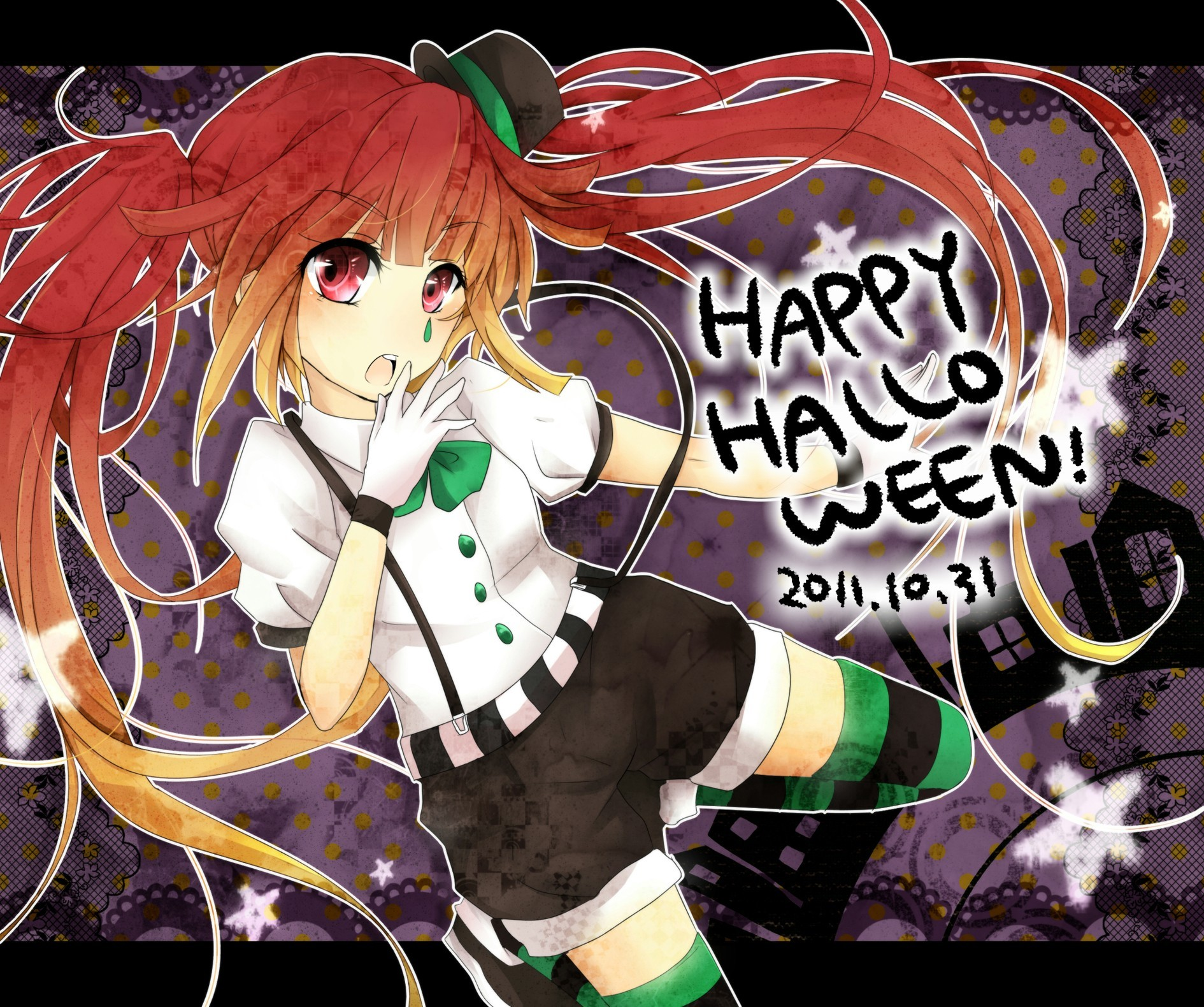 Halloween hatsune miku vocaloid striped legwear HD Wallpaper