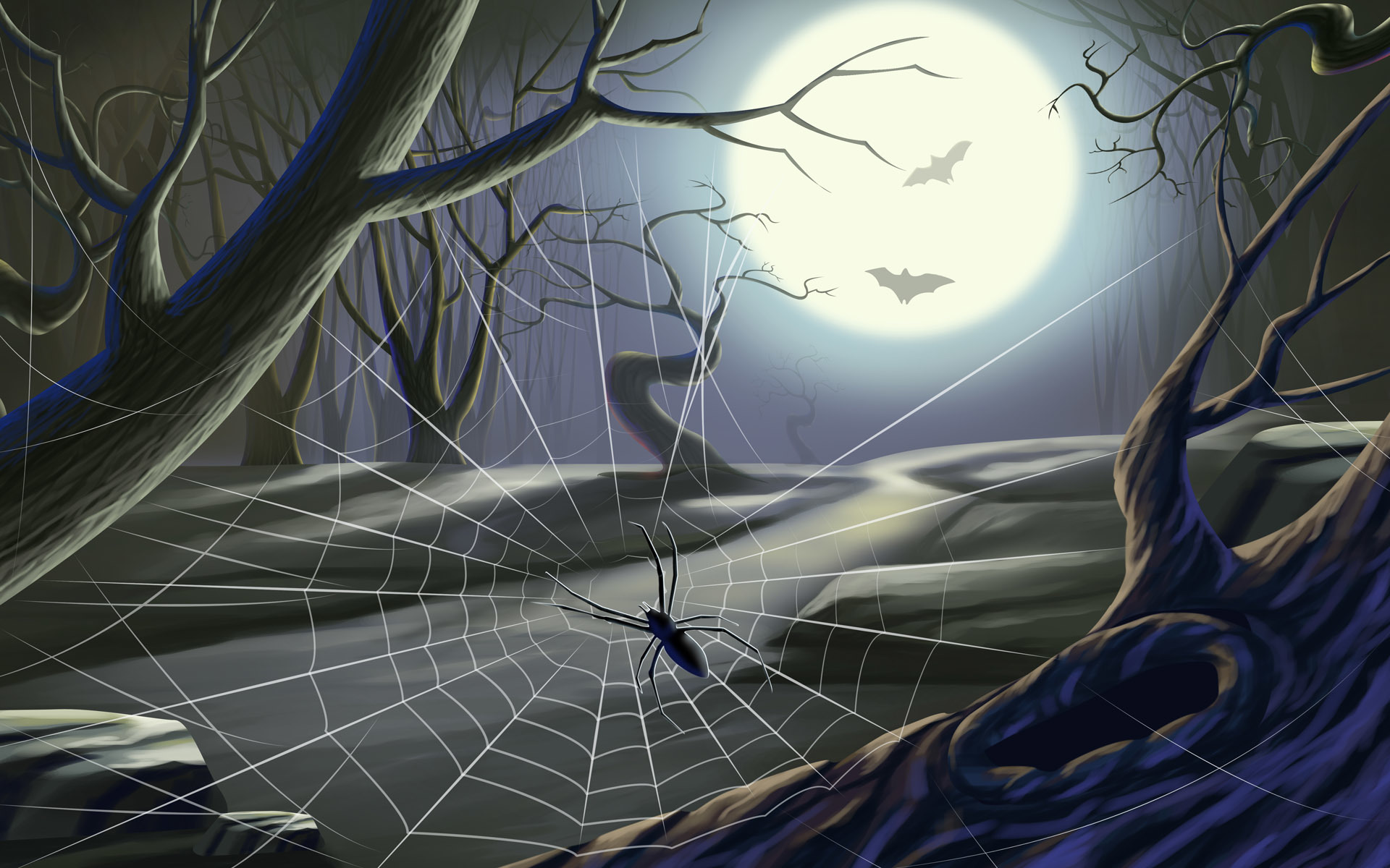 halloweenweb spider web moon HD Wallpaper