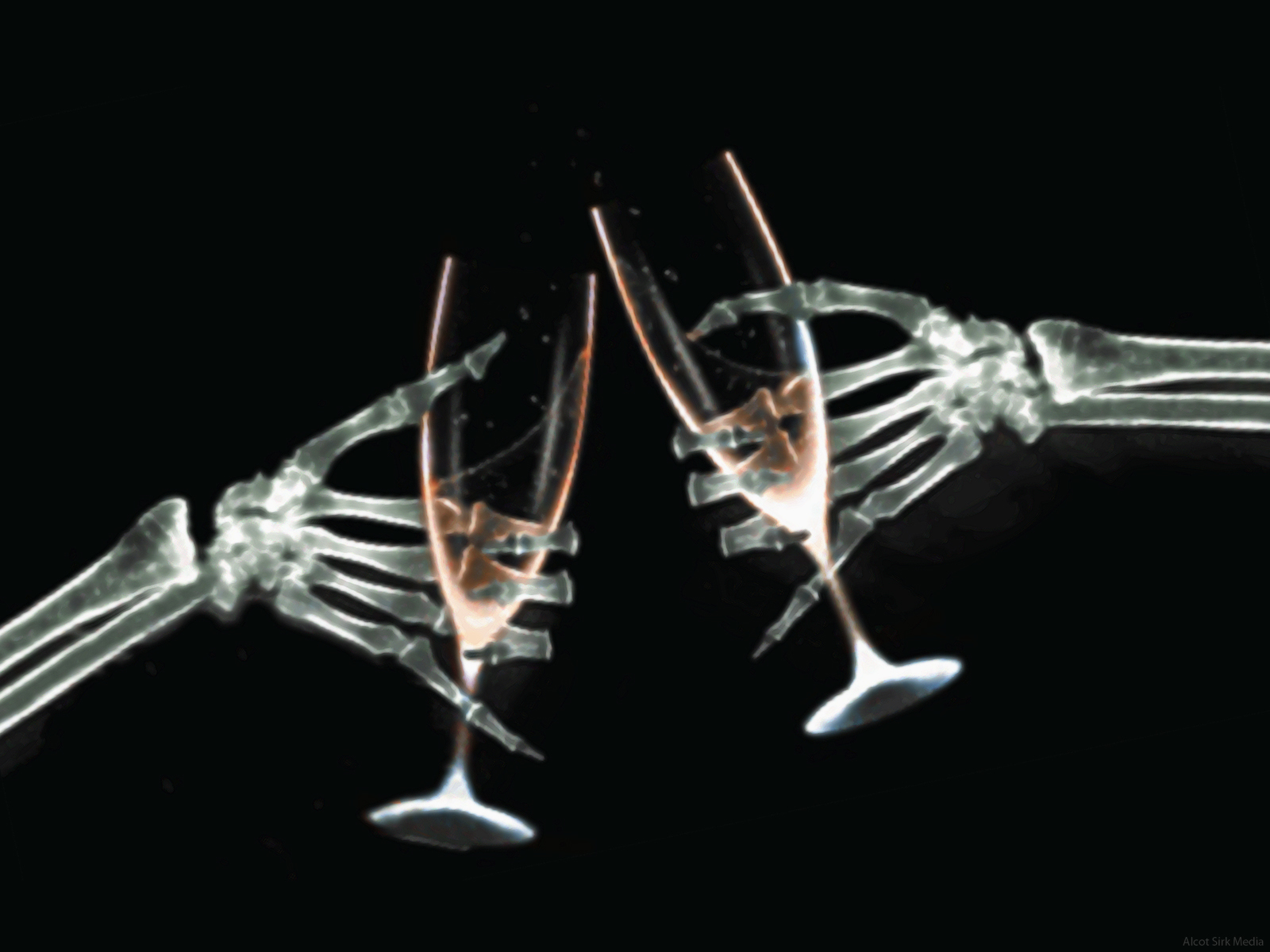 hands glasses skeletons X-ray HD Wallpaper