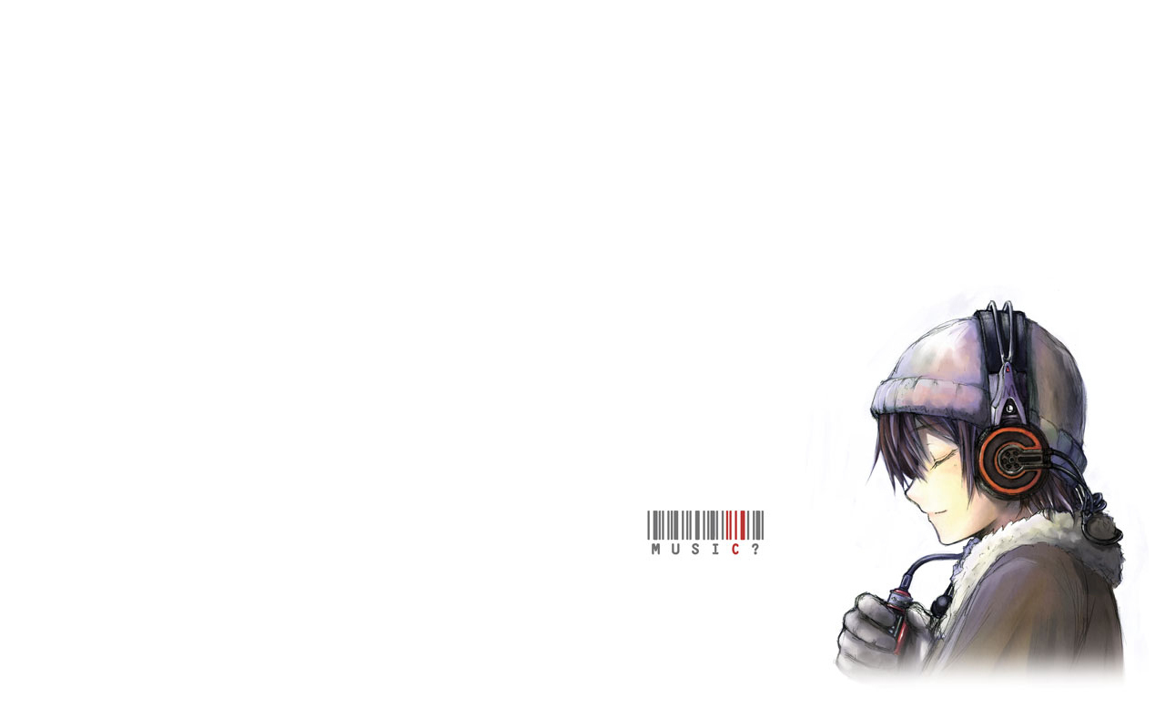 headphones Anime Simple Background HD Wallpaper