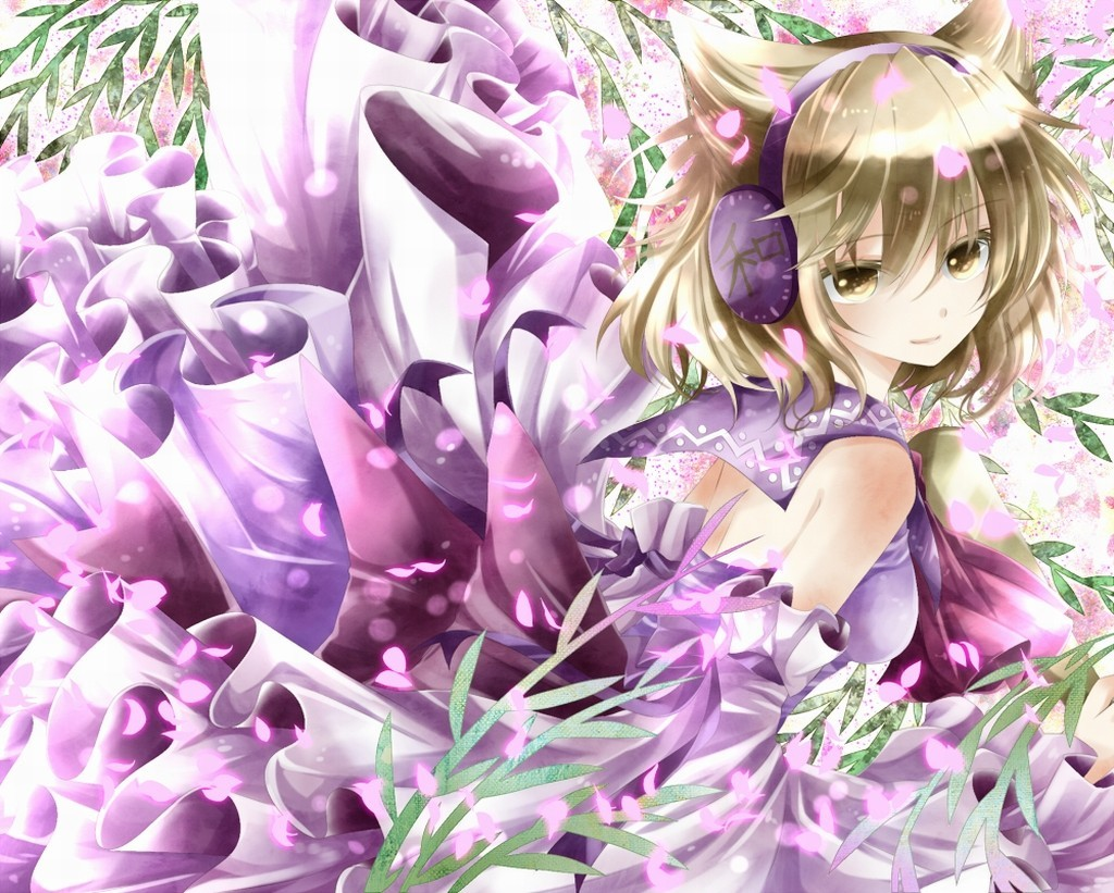 headphones blondes nature touhou