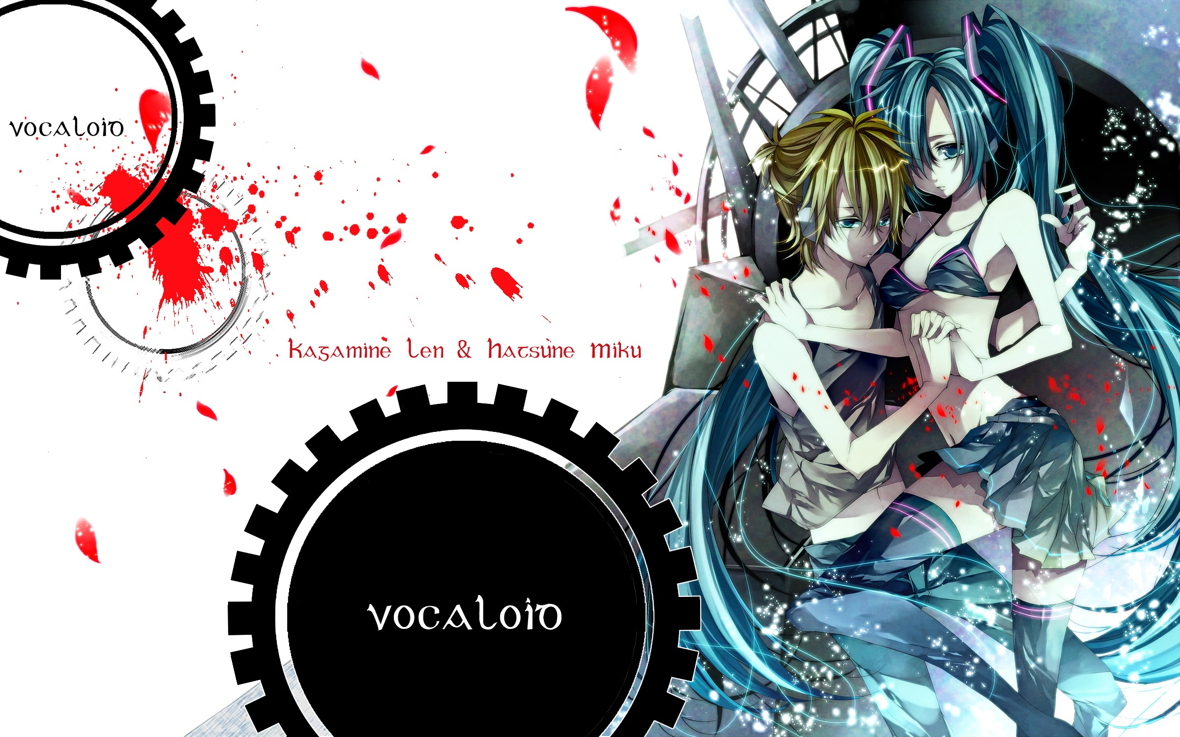 headphones blondes pants vocaloid HD Wallpaper
