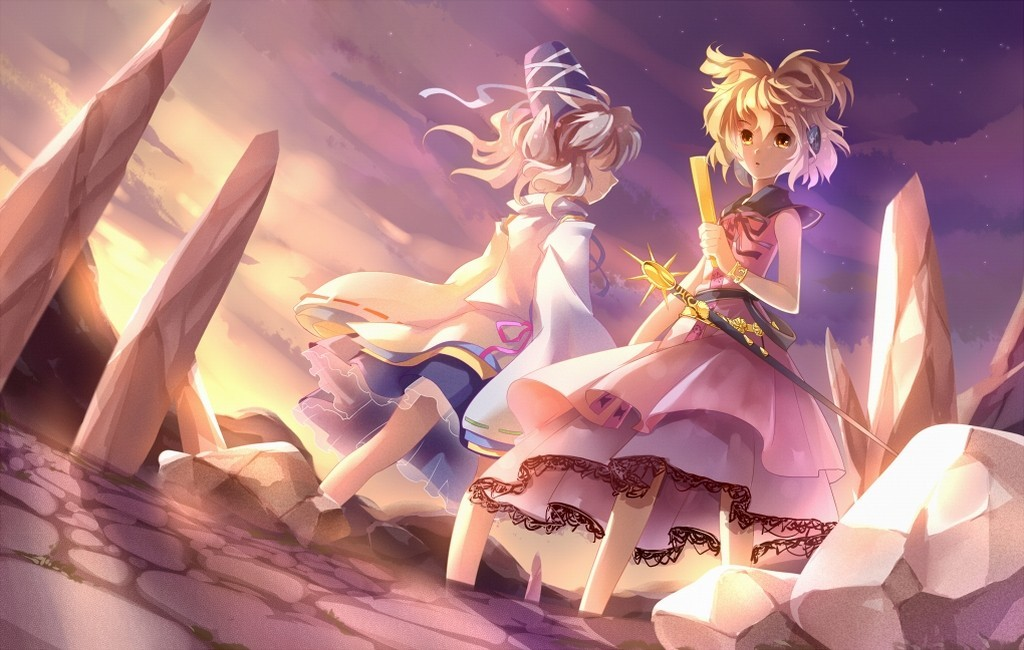 headphones blondes sunset touhou HD Wallpaper