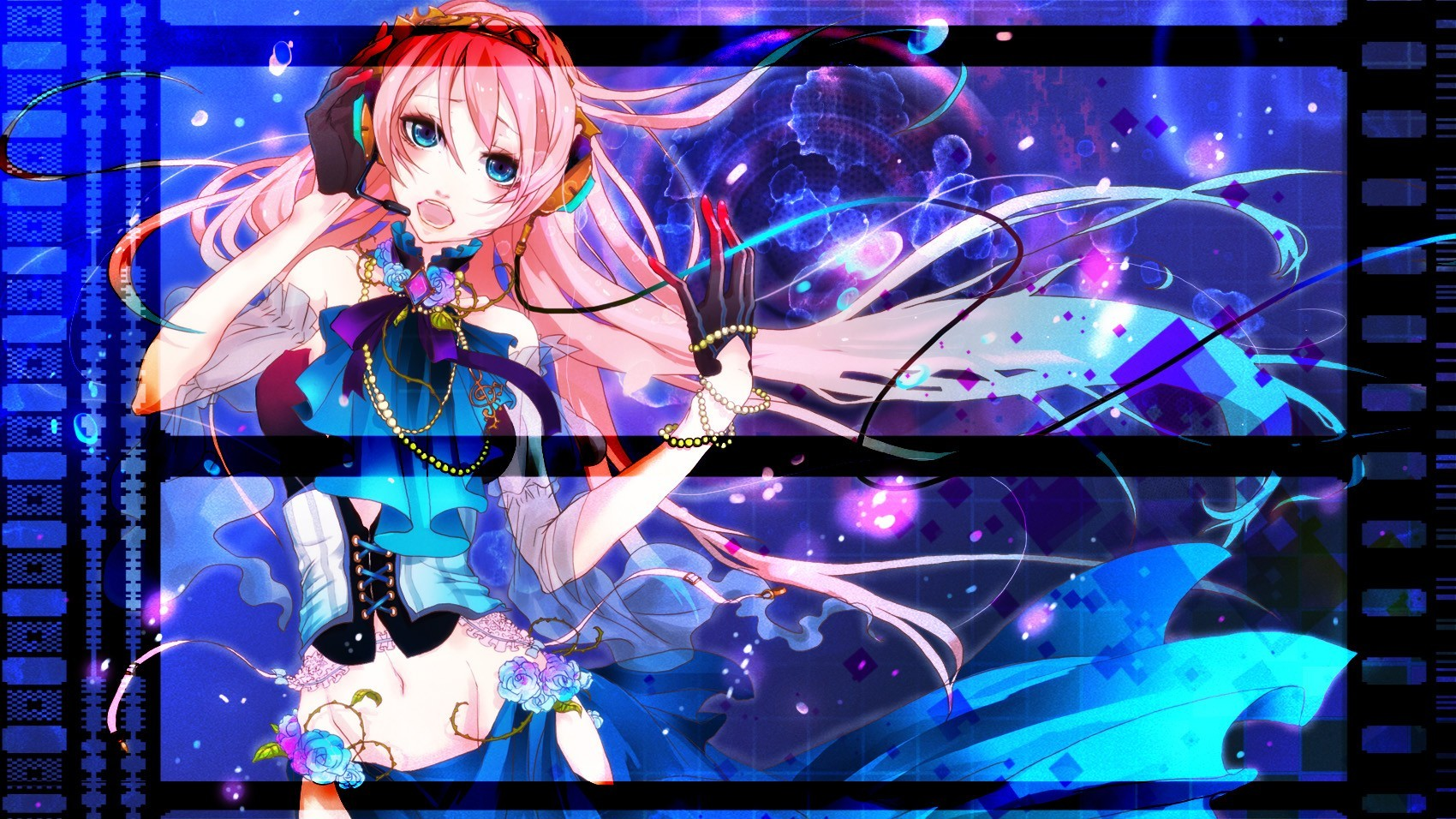 headphones blue vocaloid gloves HD Wallpaper