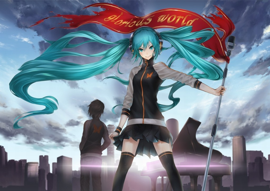 headphones clouds cityscapes vocaloid HD Wallpaper