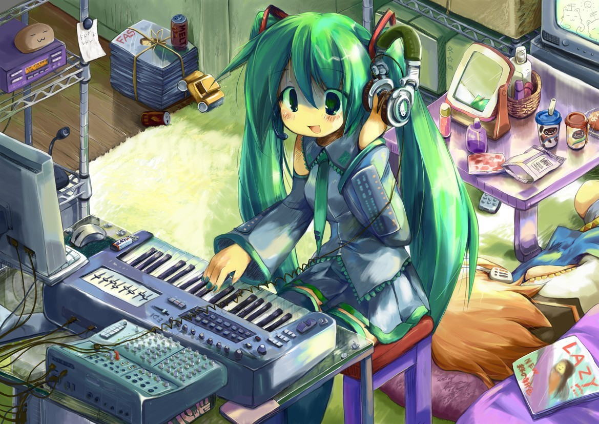 headphones Computers vocaloid hatsune HD Wallpaper