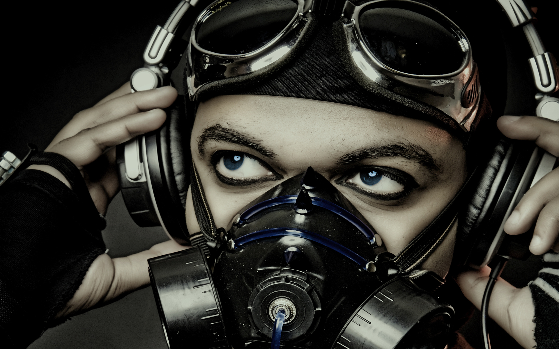 headphones gas masks goggles HD Wallpaper