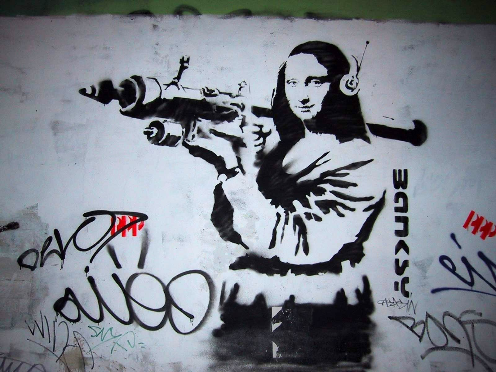 headphones graffiti Mona Lisa HD Wallpaper