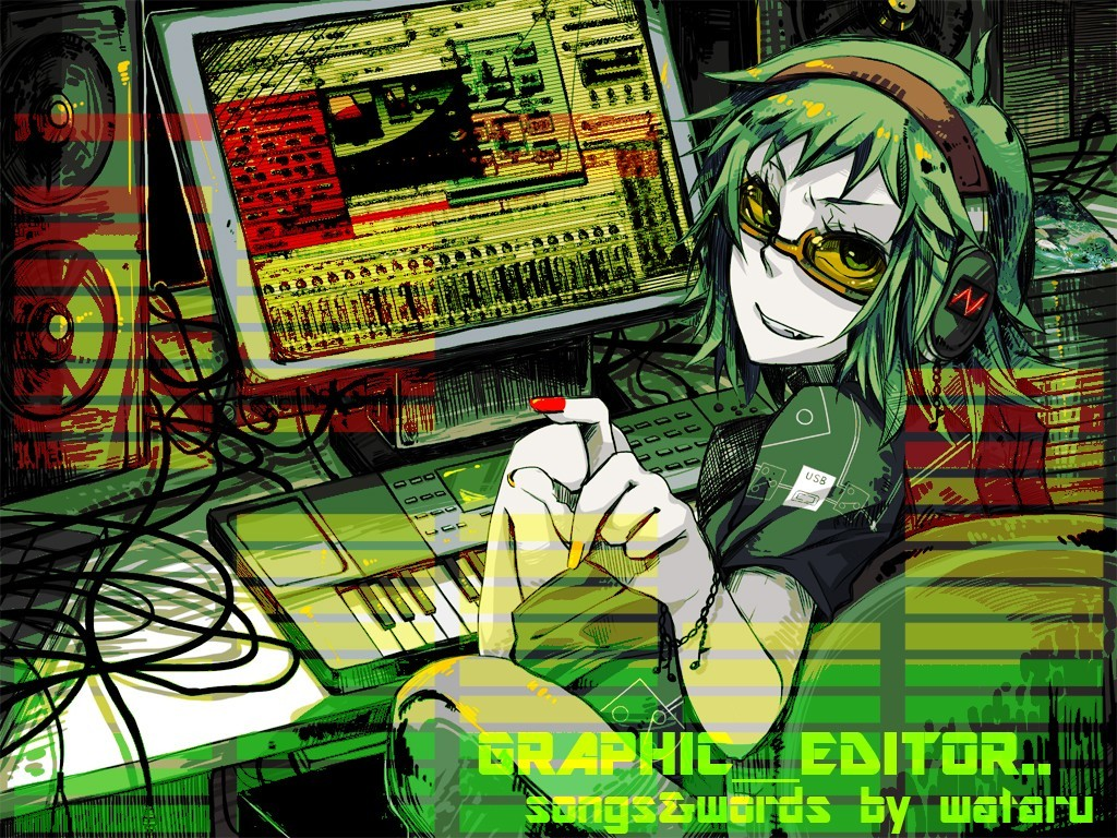 headphones Green Music vocaloid HD Wallpaper