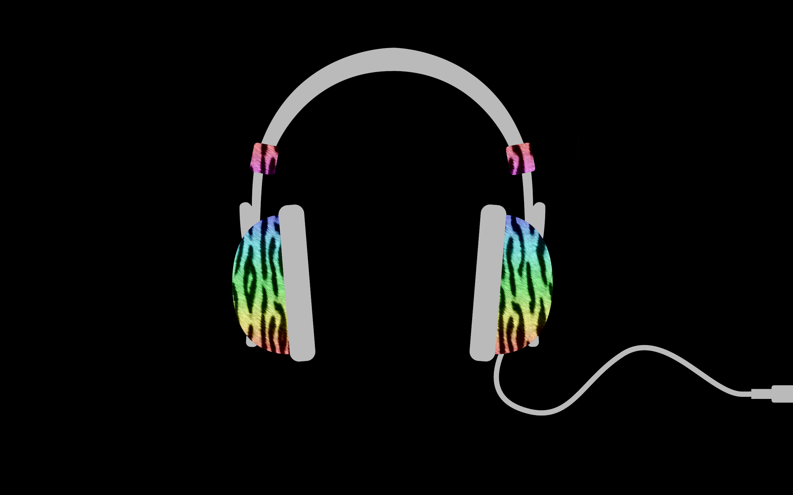 headphones minimalistic rainbows zebras HD Wallpaper