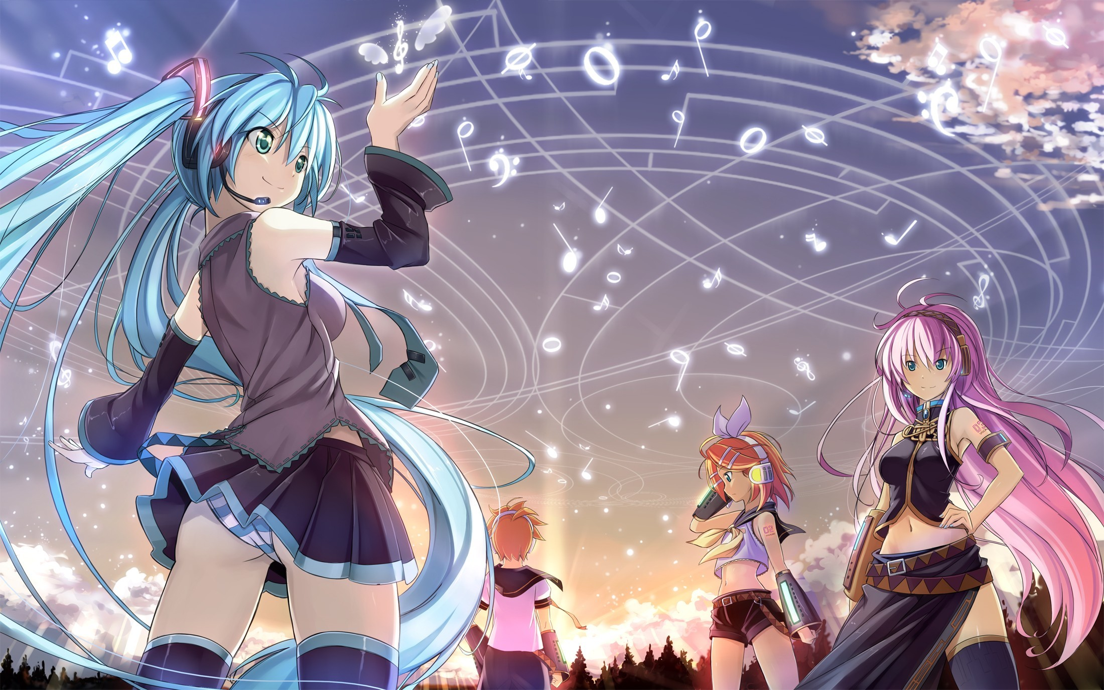 headphones panties vocaloid hatsune HD Wallpaper