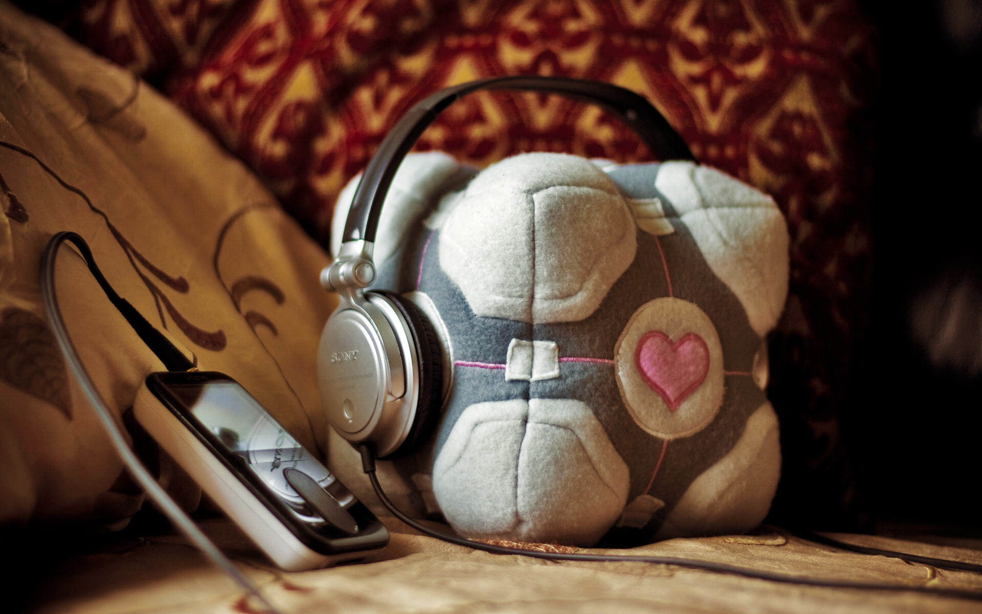 headphones Portal Music Companion HD Wallpaper