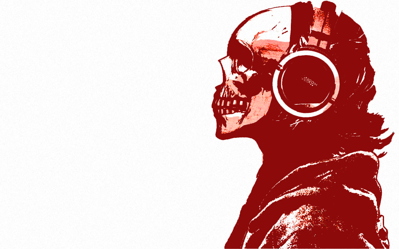 headphones skulls monochrome HD Wallpaper