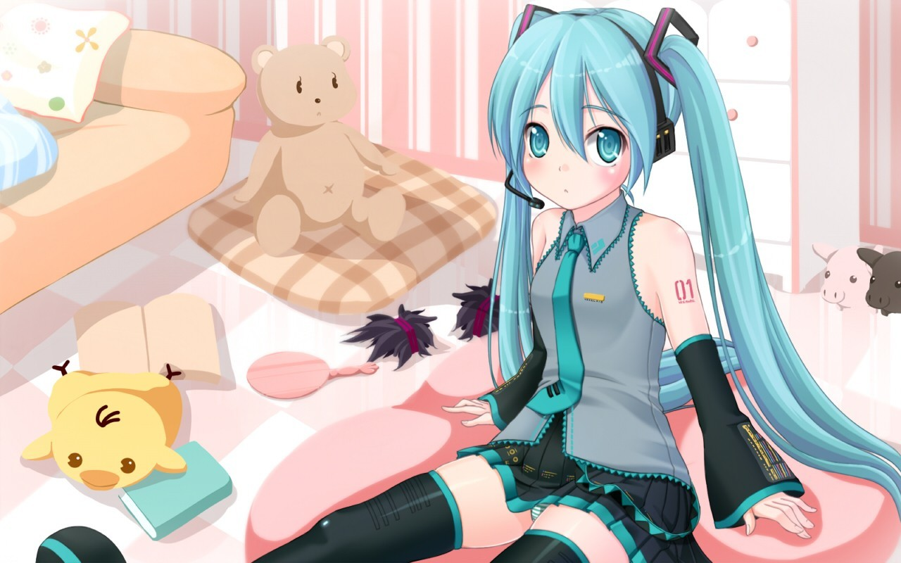 headphones vocaloid hatsune miku HD Wallpaper