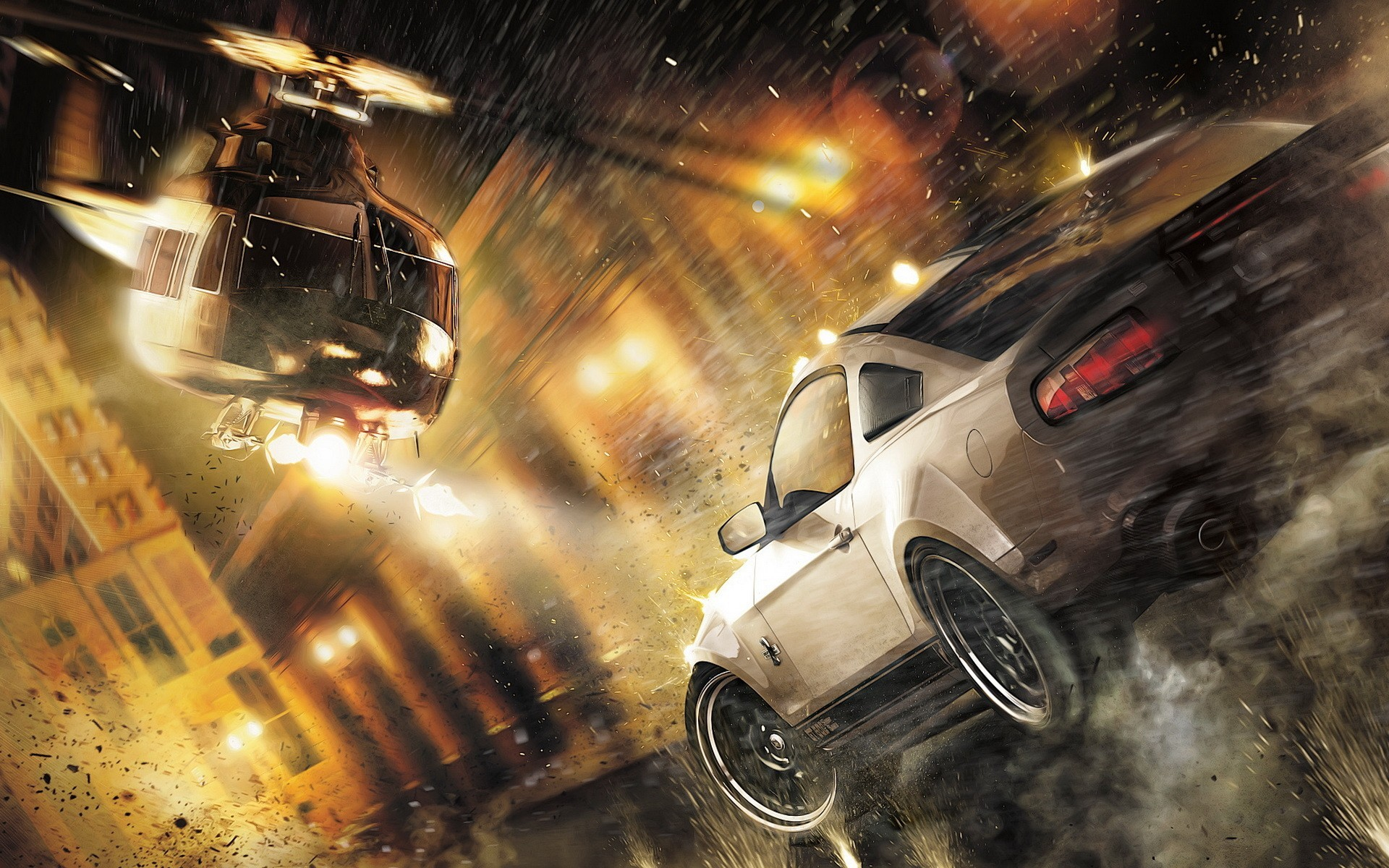 Helicopters cars Ford need for speed the run HD Wallpaper