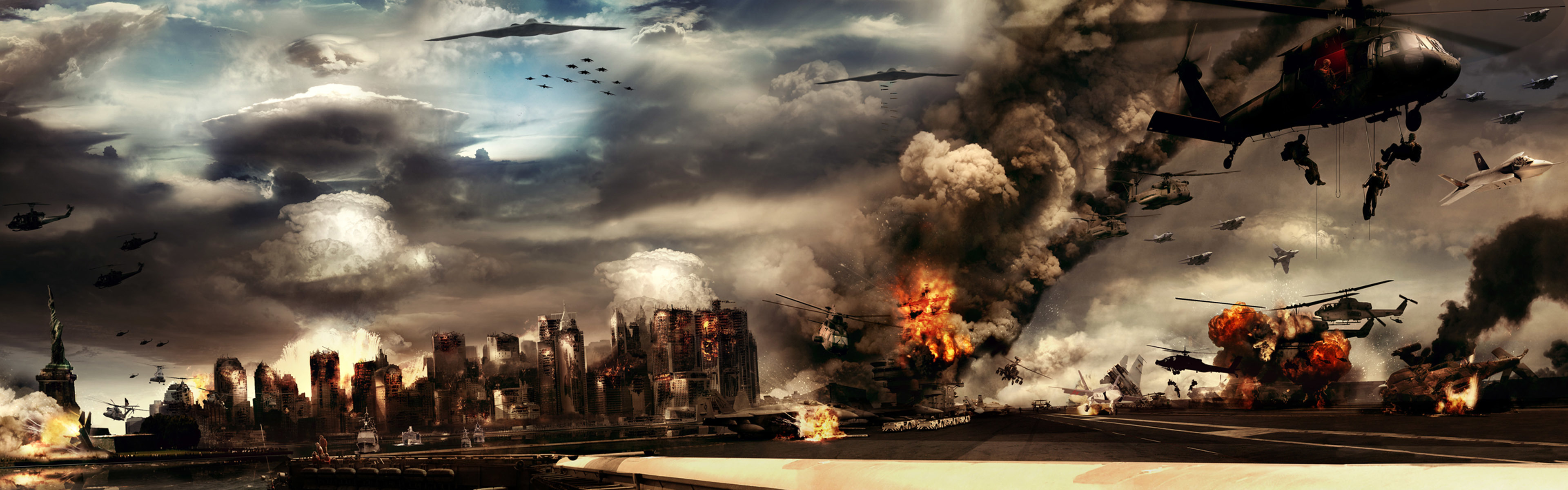Helicopters explosions destruction statue HD Wallpaper