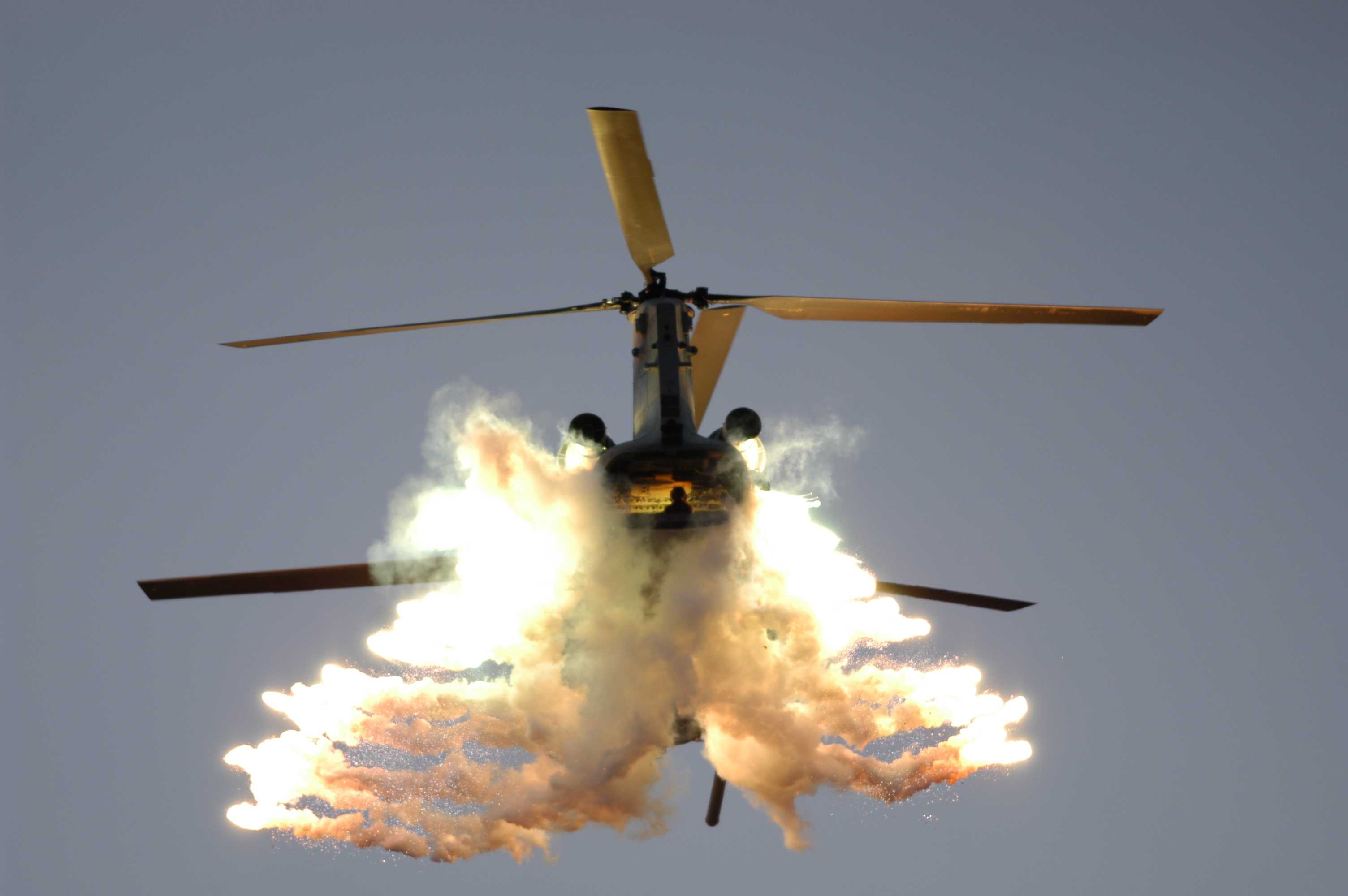 Helicopters vehicles flares CH-47 HD Wallpaper