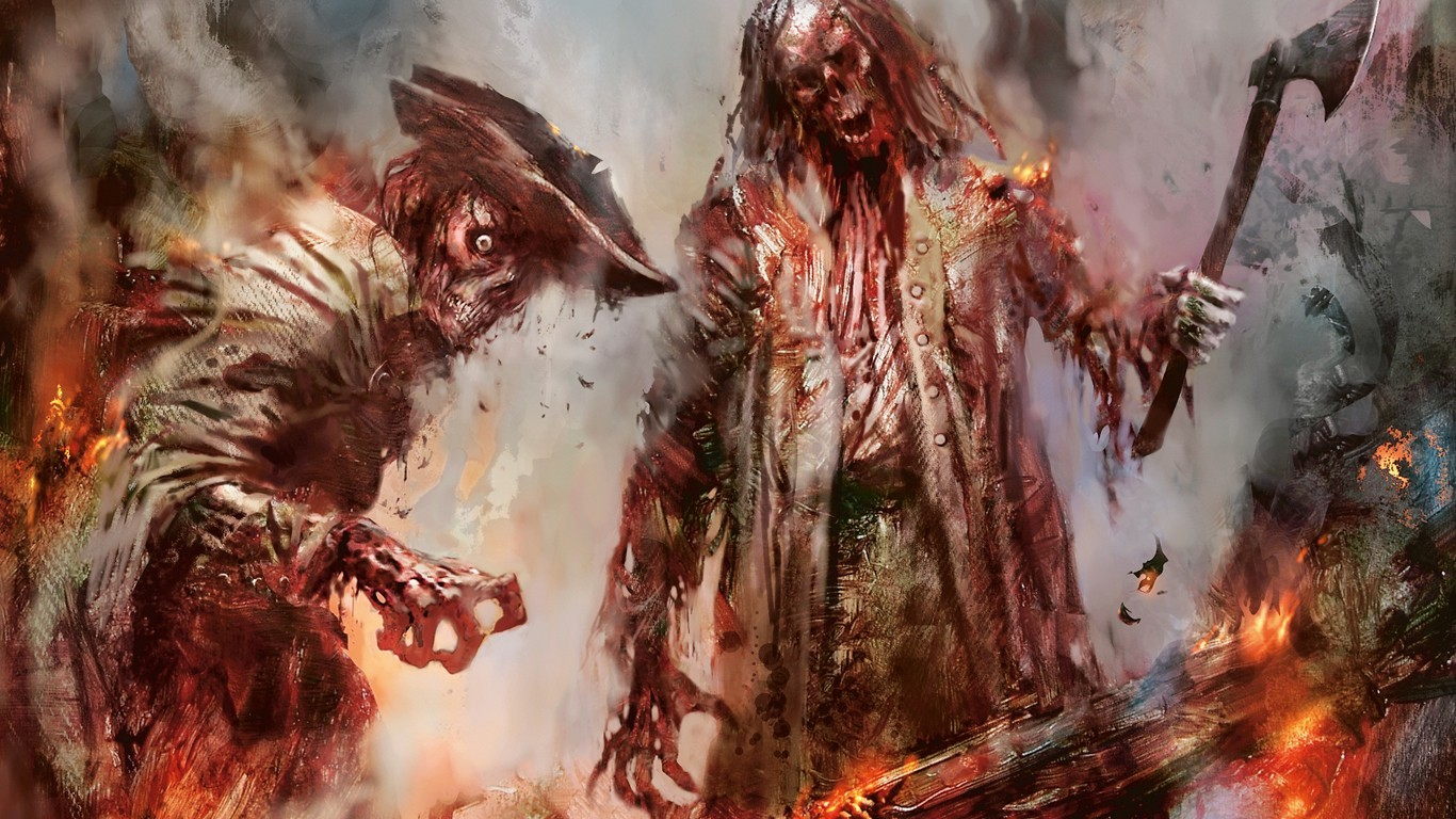 horror fantasy fire zombies HD Wallpaper