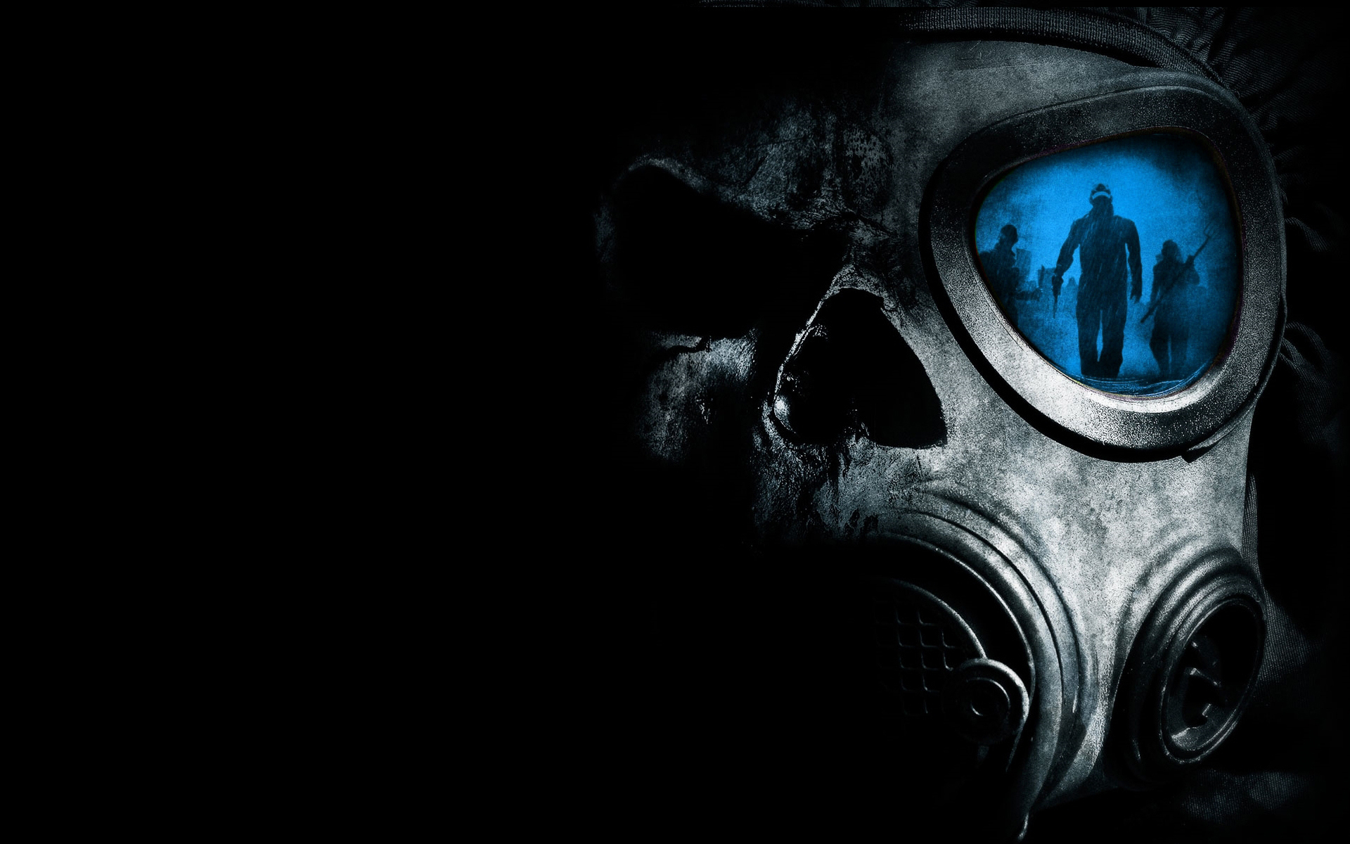 horror skulls gas masks HD Wallpaper