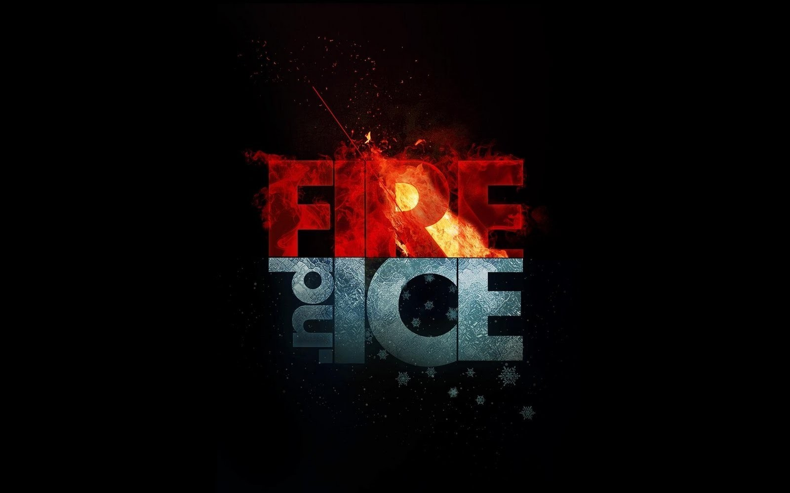 ice fire design Photoshop HD Wallpaper