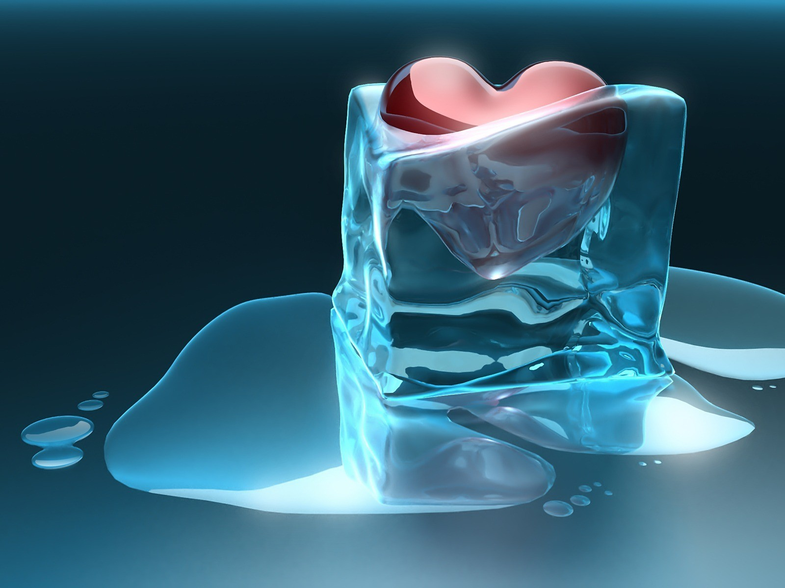 ice Hearts HD Wallpaper