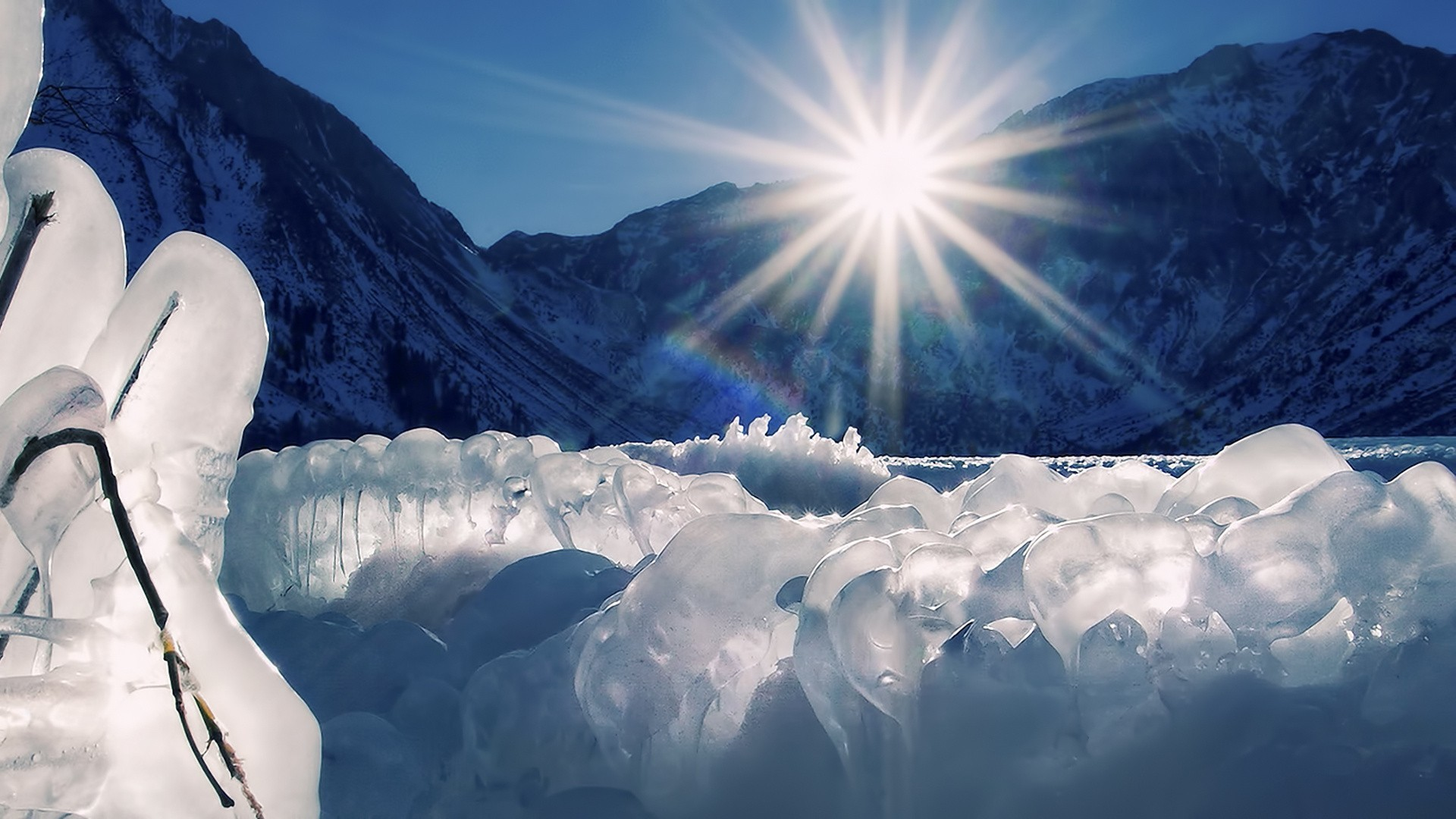 ice Landscapes nature sun HD Wallpaper