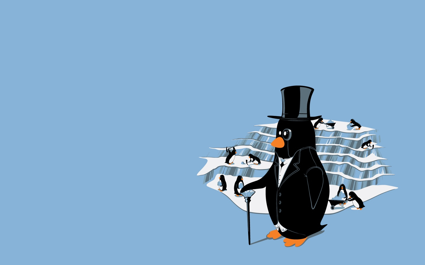 ice minimalistic Penguins tycoon HD Wallpaper